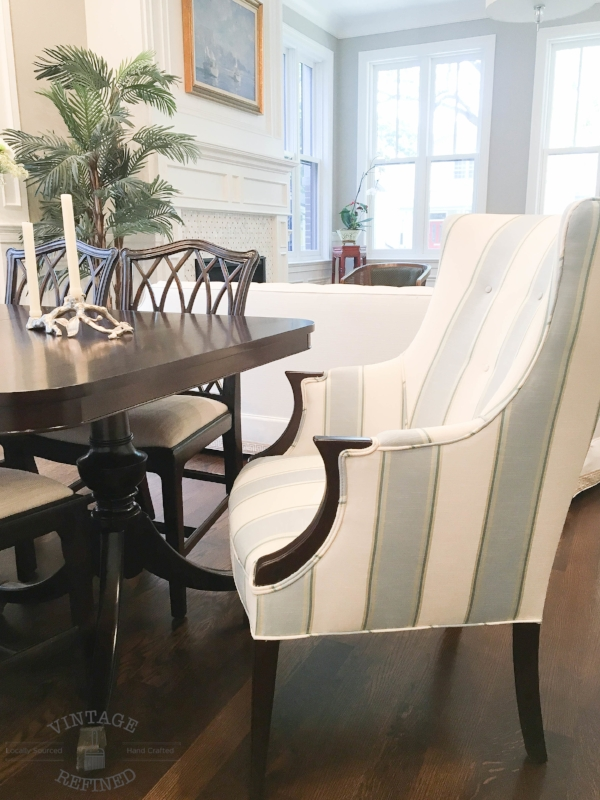 striped dining chair