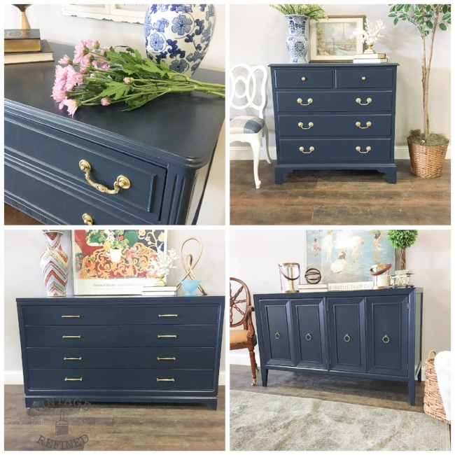 Vintage Refined Color Crush Navy Blue, Blue Painted Furniture Photos