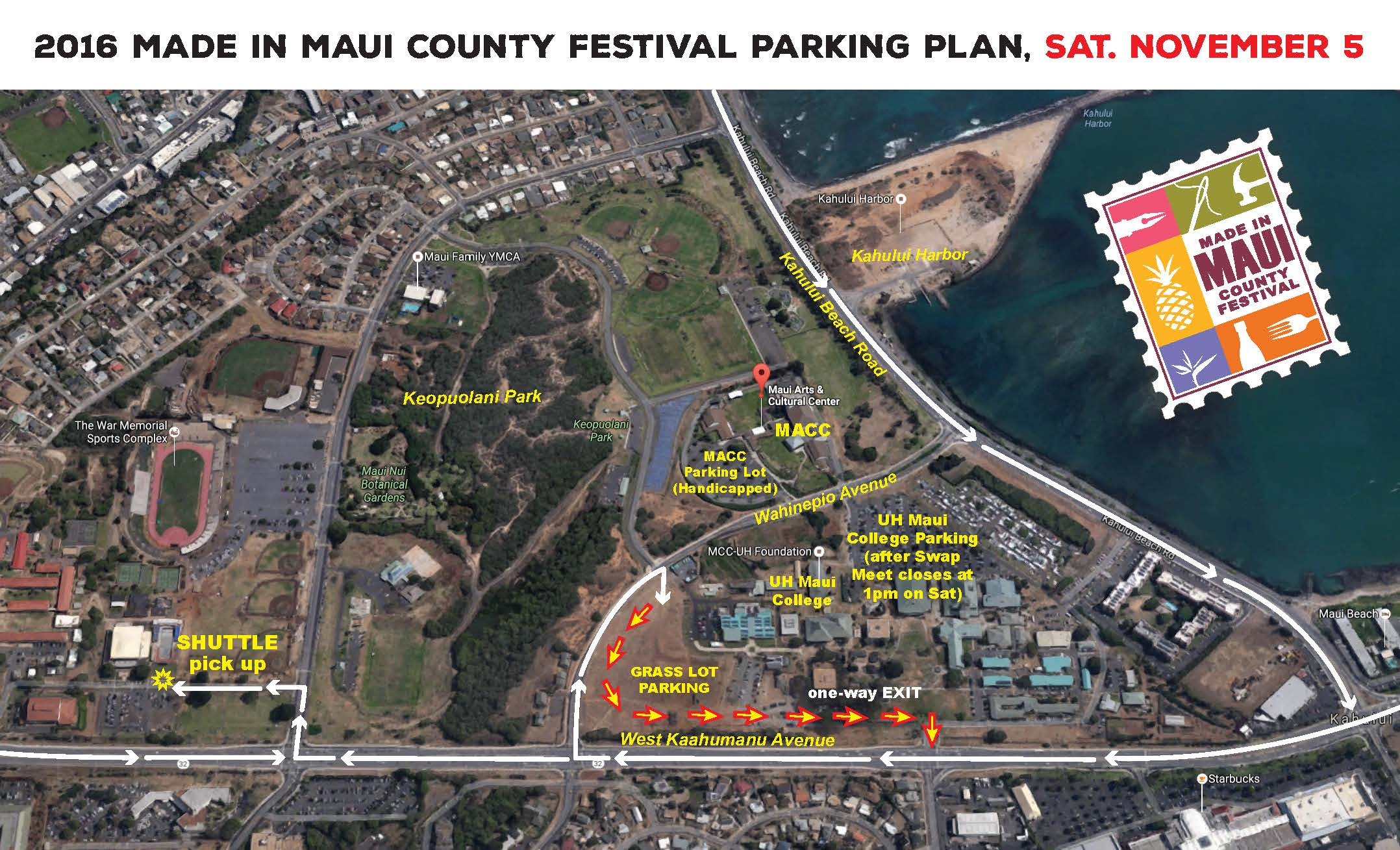 2016 Made in Maui County Festival Parking Plan/Traffic Flow Map