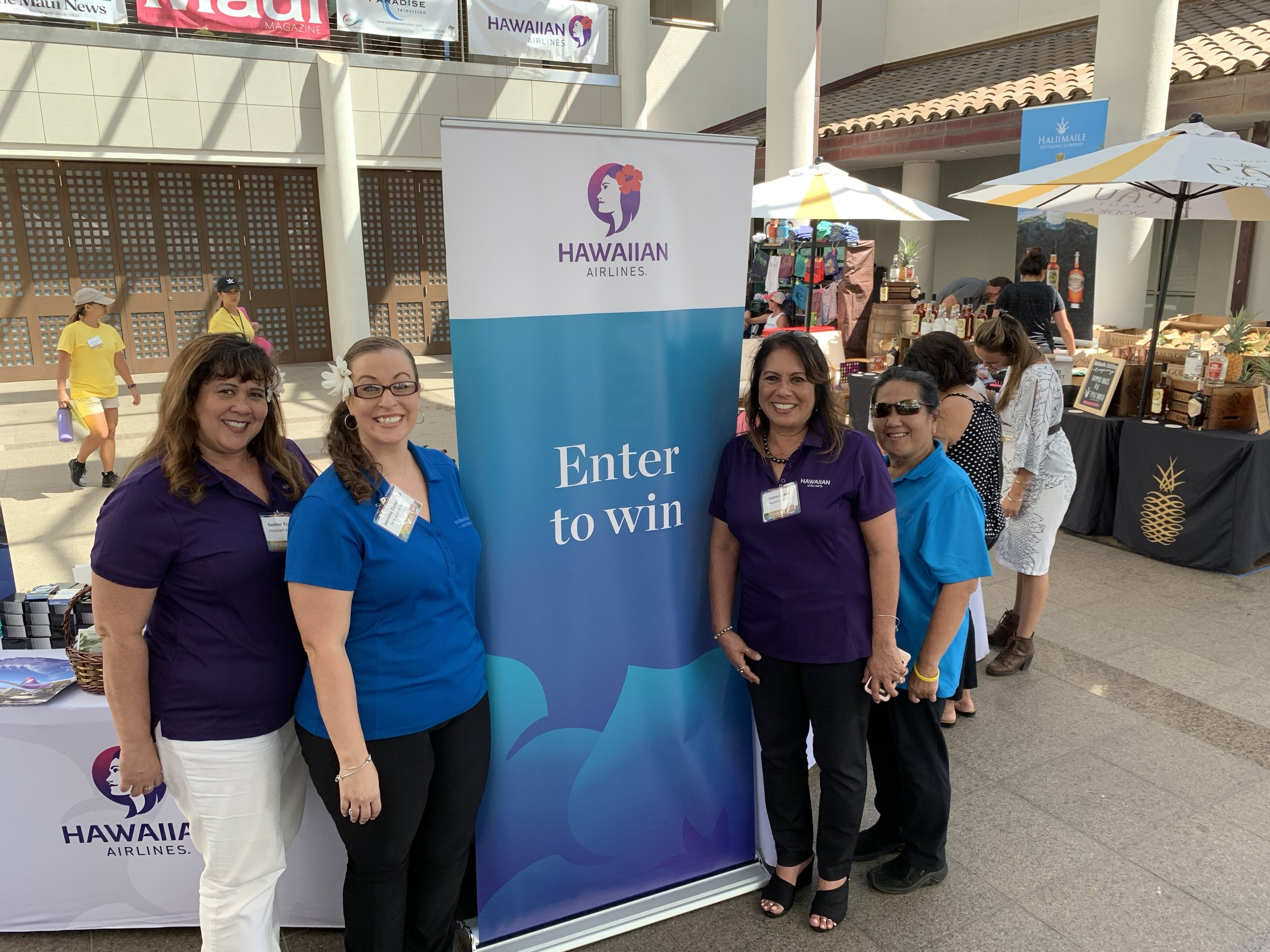 Members of Hawaiian Airlines team at the Made in Maui County Festival. Pictured from left: Nadine Texeira, Jasmine Tamanaha, Leona Duarte, and Merle Bernades.