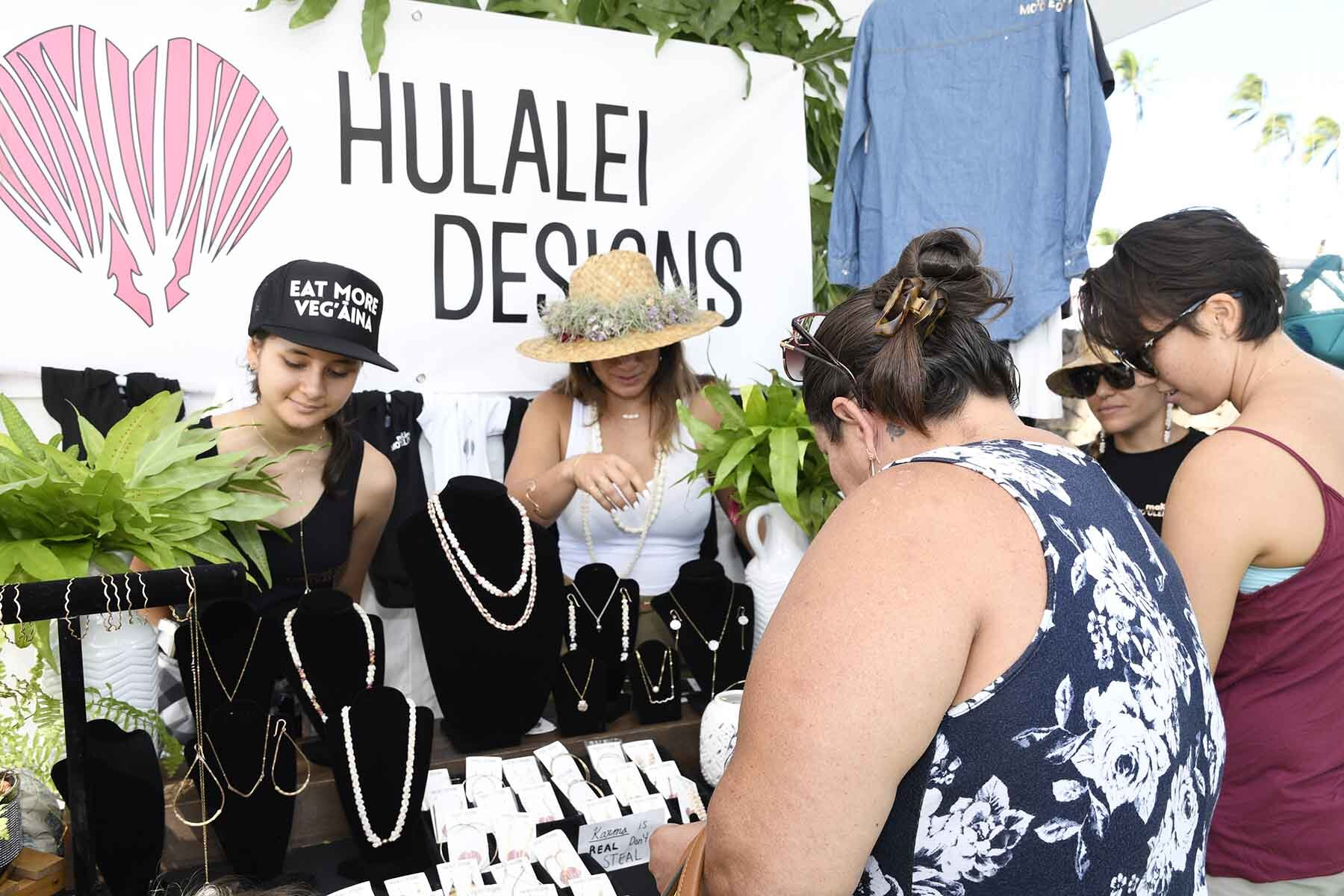 Hualalei Designs from Molokai will feature their shell jewelry and Lauhala Papale made with aloha.