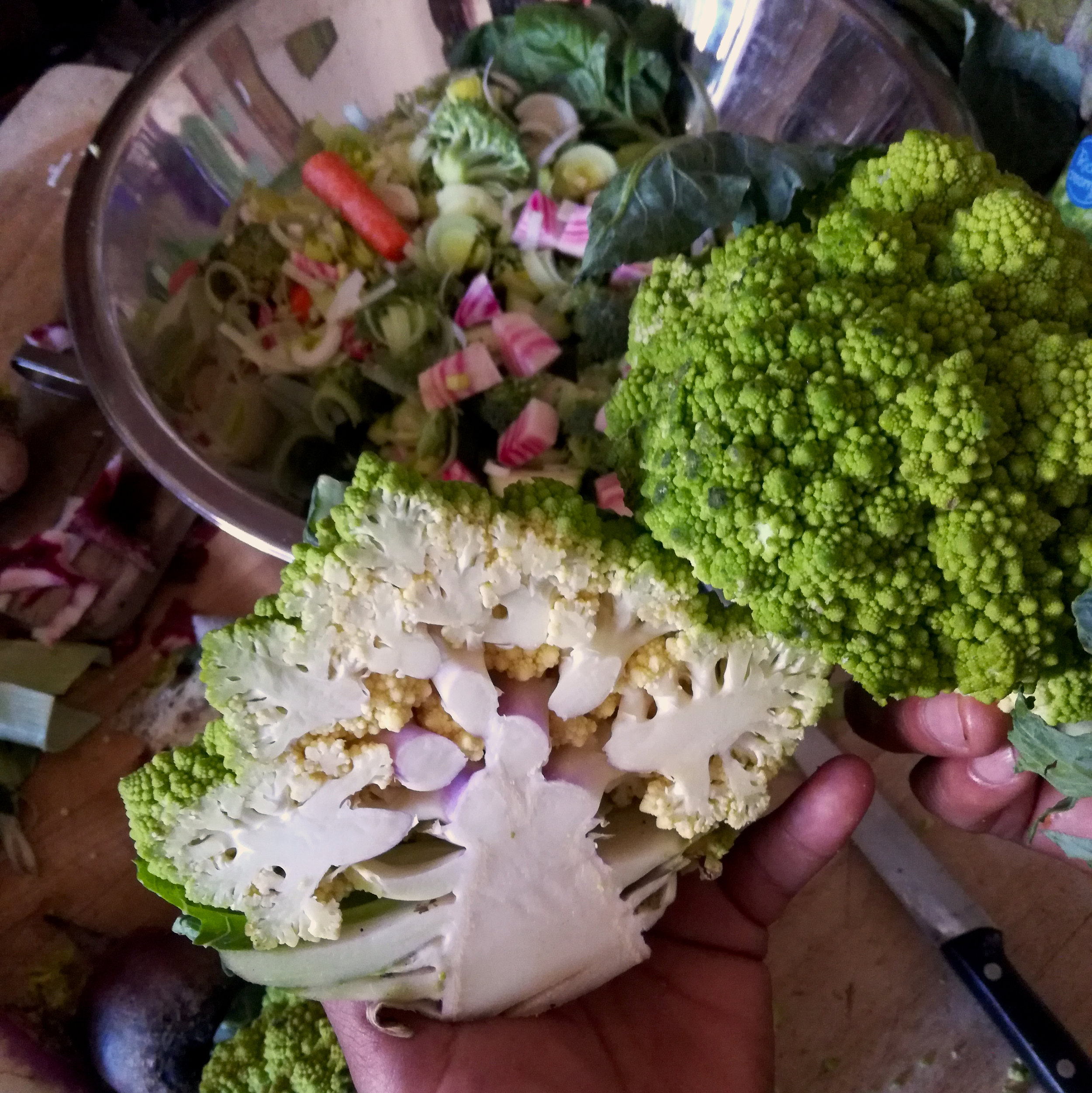 Fresh produce is beautiful, healthy, tasty and in the case full of romanescu broccoli math! #FibonacciArt #OrganicProduce #TasteTheRainbow #NaturalCooking #NaturalLiving #CookingVegan