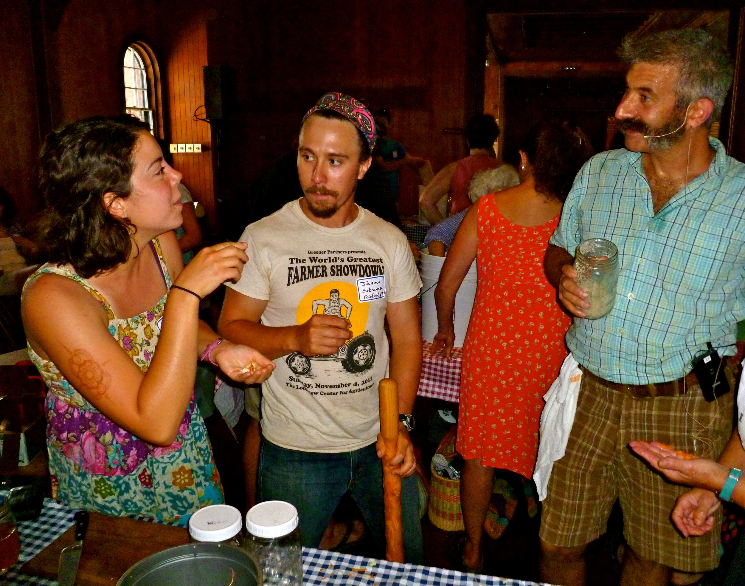 Caitlin & Jason fermenting with Sandor Katz at Shelburne                    Farms, July 2014                Photo Credit Michael Good