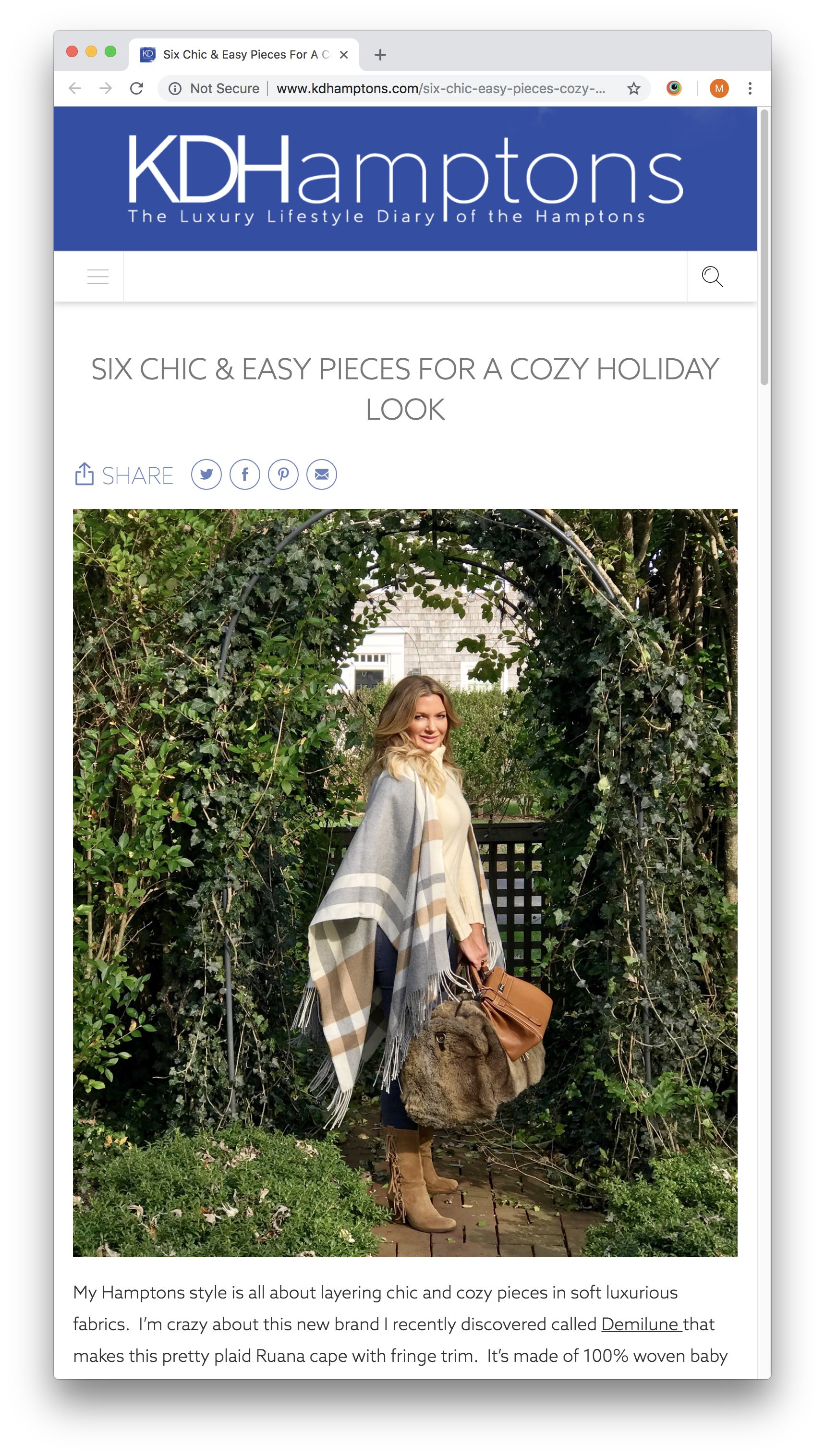 Six chic and easy pieces for a cozy holiday look — KDHamptons, December 2018