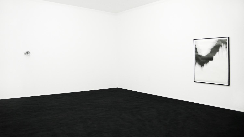 bourdon , 2010, nylon, 23 x 25 x 30cm;  draft V,  2010, pencil on paper, 140 x 110cm;  rime , 2010, carpet, glass, dimensions variable    squall line, Les Modules, Palais de Tokyo, Paris
