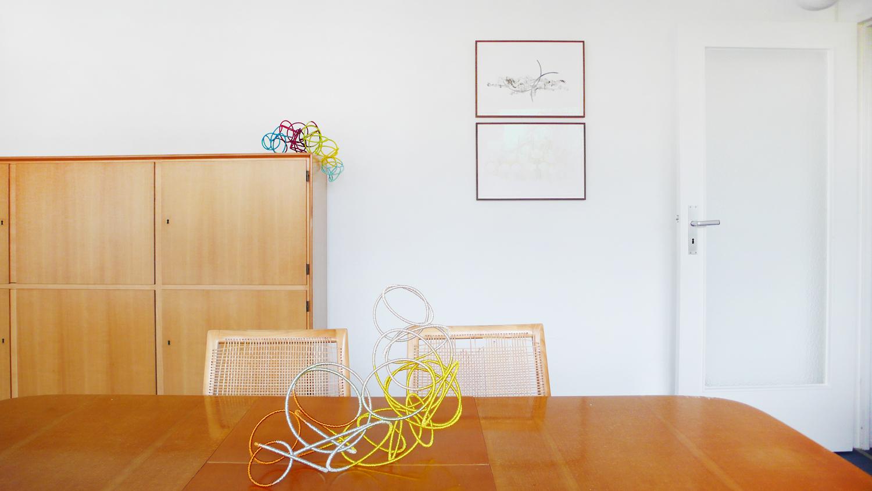 solar wind l, ll , 2013, metal, wire, each 20 x 25 x 40cm  internal friction , 2009, ink and pencil on paper, each 33 x 38cm  Sonntag by Adrian Schiesser und April Gretler, Berlin