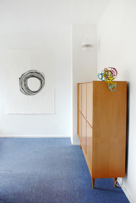 corona,  2013, ink on paper   solar wind l , 2013, metal, wire, 20 x 25 x 40cm  Sonntag by Adrian Schiesser und April Gretler, Berlin