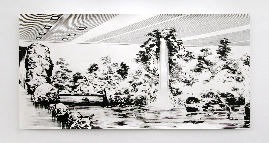 promised   , 2005, ink on paper, 195 x 395cm   Reflections from Nature at SongEun Art Center, Seoul