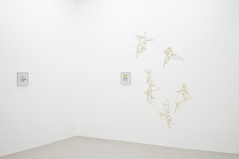 Shape/ Caju, Shape/ Meltemi , 2014, collages,  Spells , 2014, brass, wire  Shapes, Traps and Spells, Lullin + Ferrari, Zürich