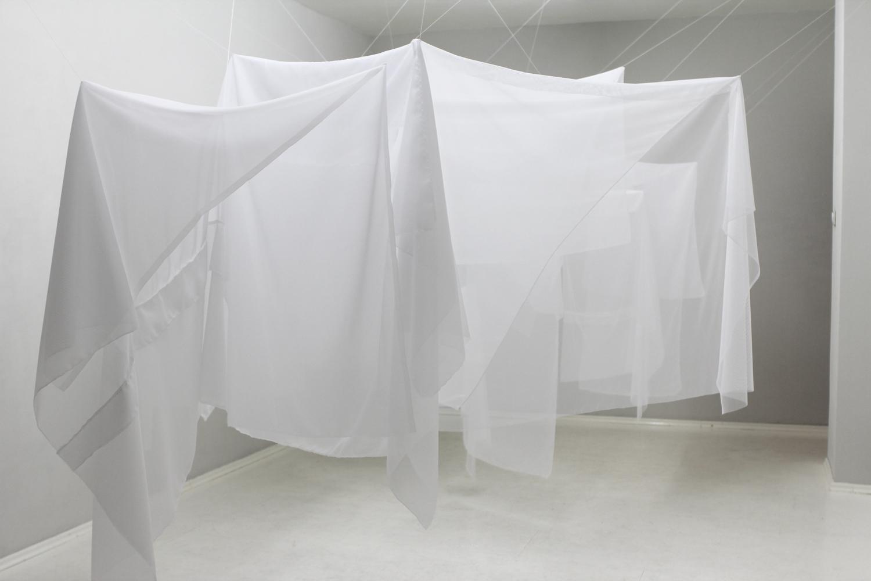 Traps , 2014, textiles, tread  Traps, NuN, Berlin (all photos by Pierre-Etienne Morelle)