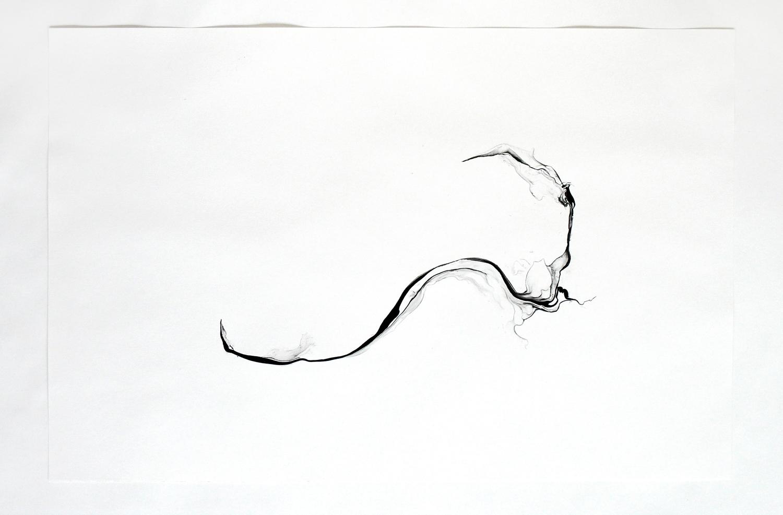 Turbulences/ phuyu , 2014, ink on paper, 62,5 x 92cm