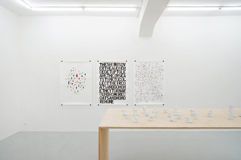 gspängschtli, 2016, porcelain, dimensions variable; vision cloud, 2016, ink, pencil, gouache, spray paint, each 131 x 101cm