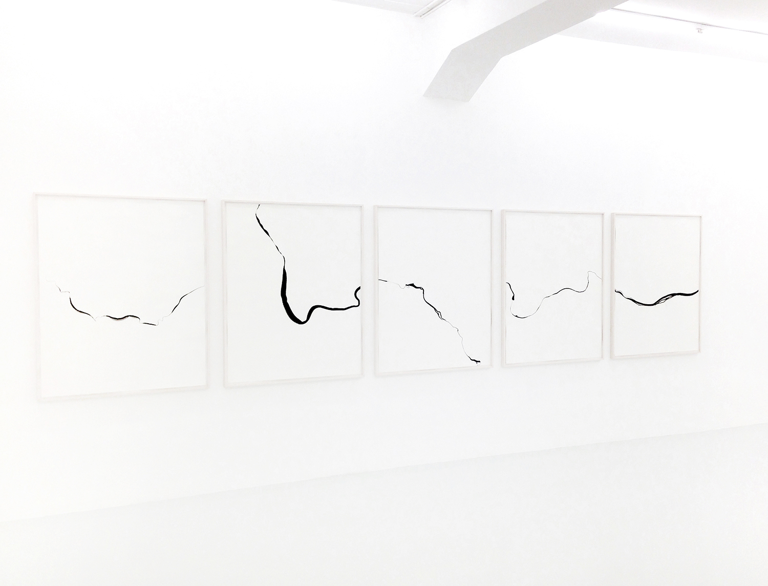 Refractions/ tuppiyak , 2018, ink on paper, 125 x 550cm (5 pieces)