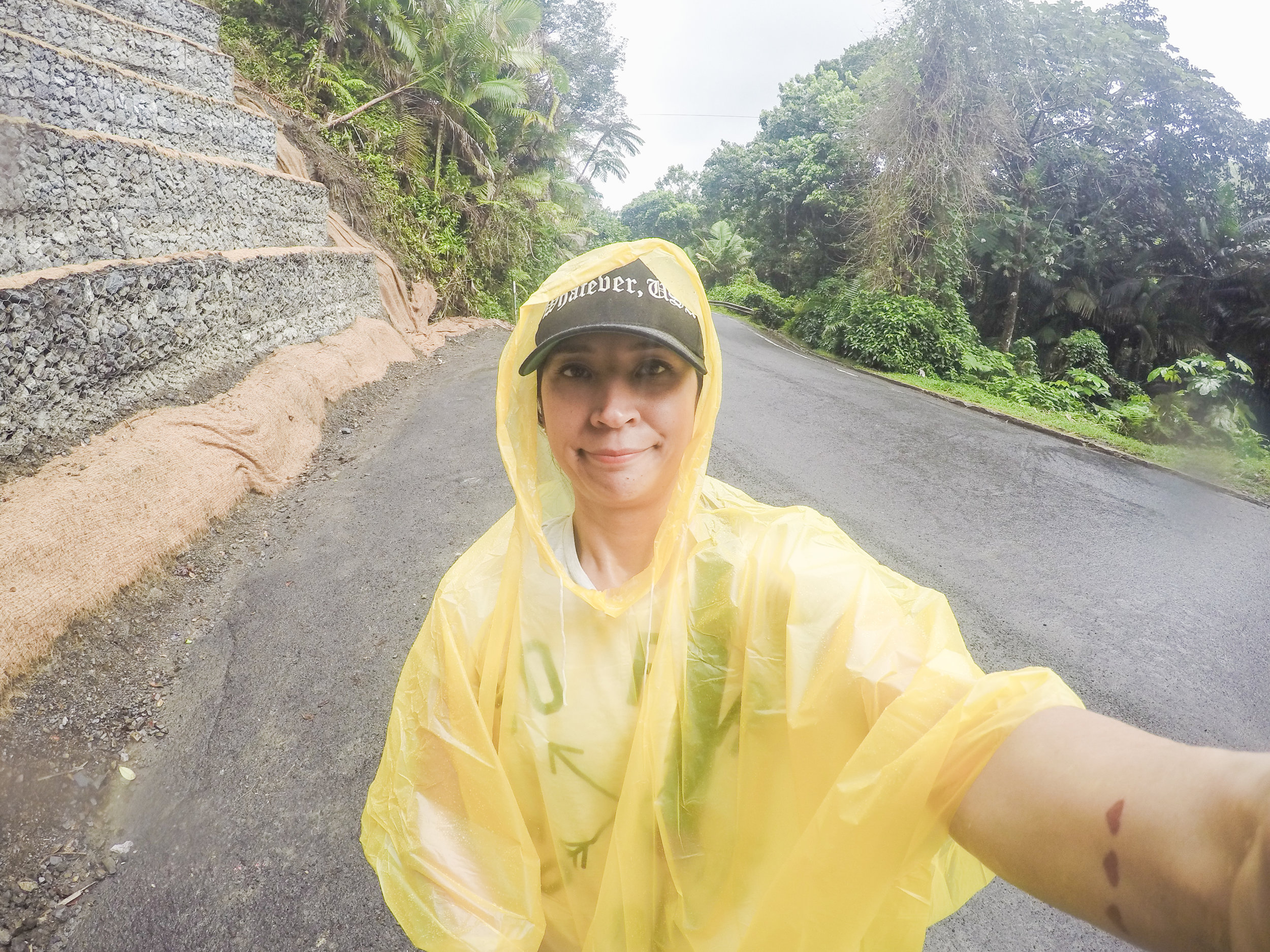 Day 3: El Yunque Rainforest. You can see how thrilled I was about the rain and super sexy poncho.