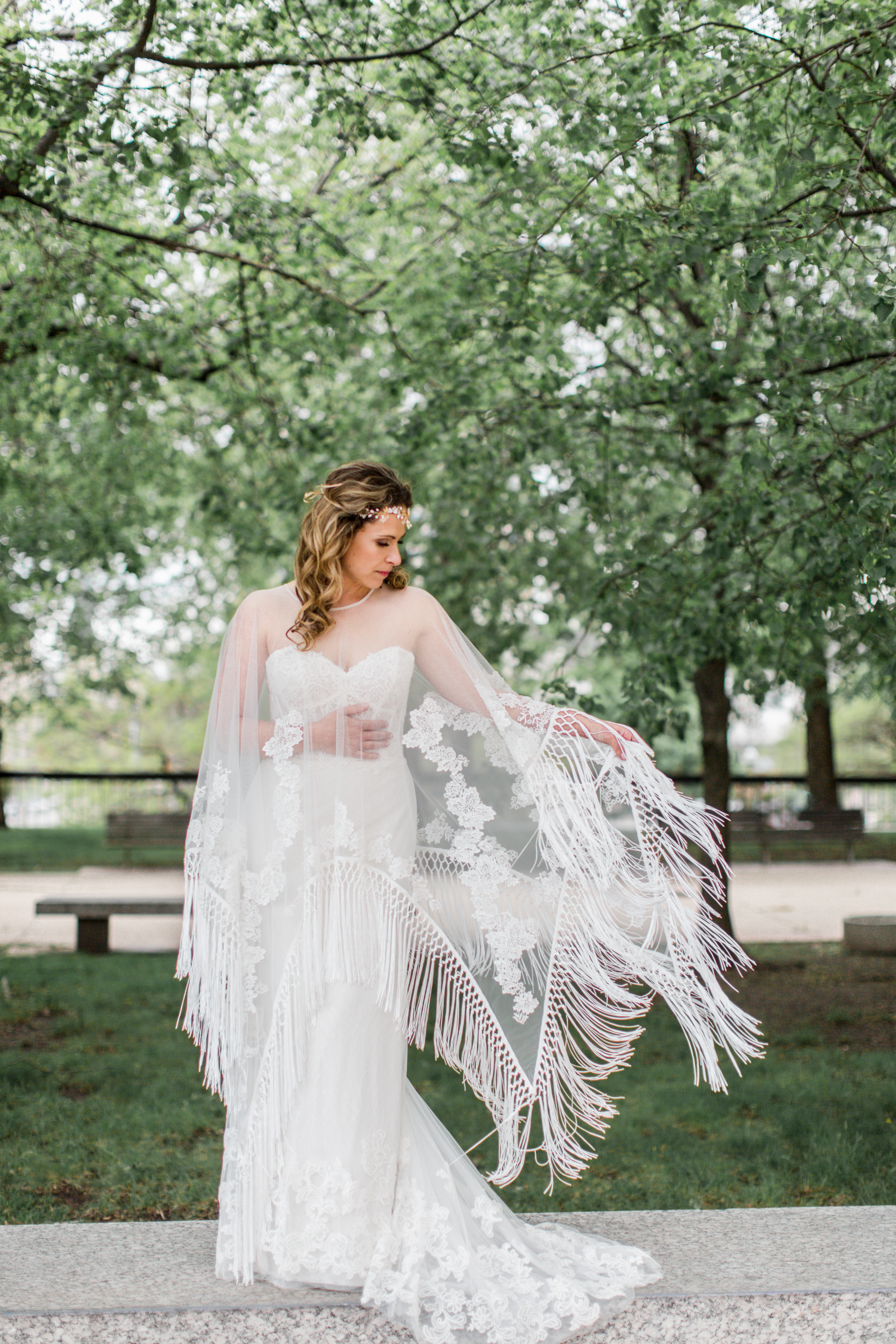 """Willowby """"Liberty"""" Gown with a Ti Adora fringed lace poncho"""