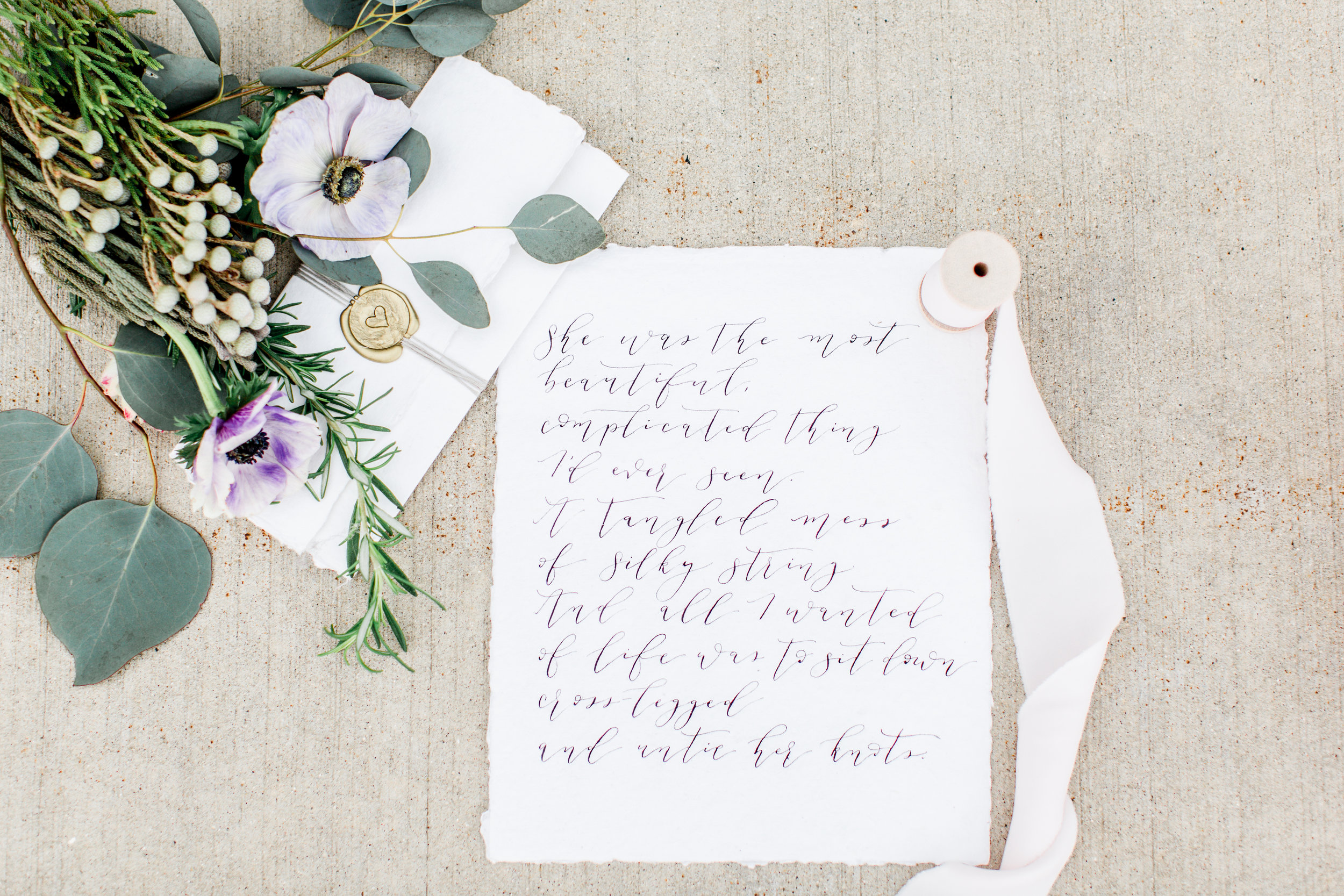 Beautiful calligraphy poem + wax seal by Shelby Made It, ribbon by Torn & Tied