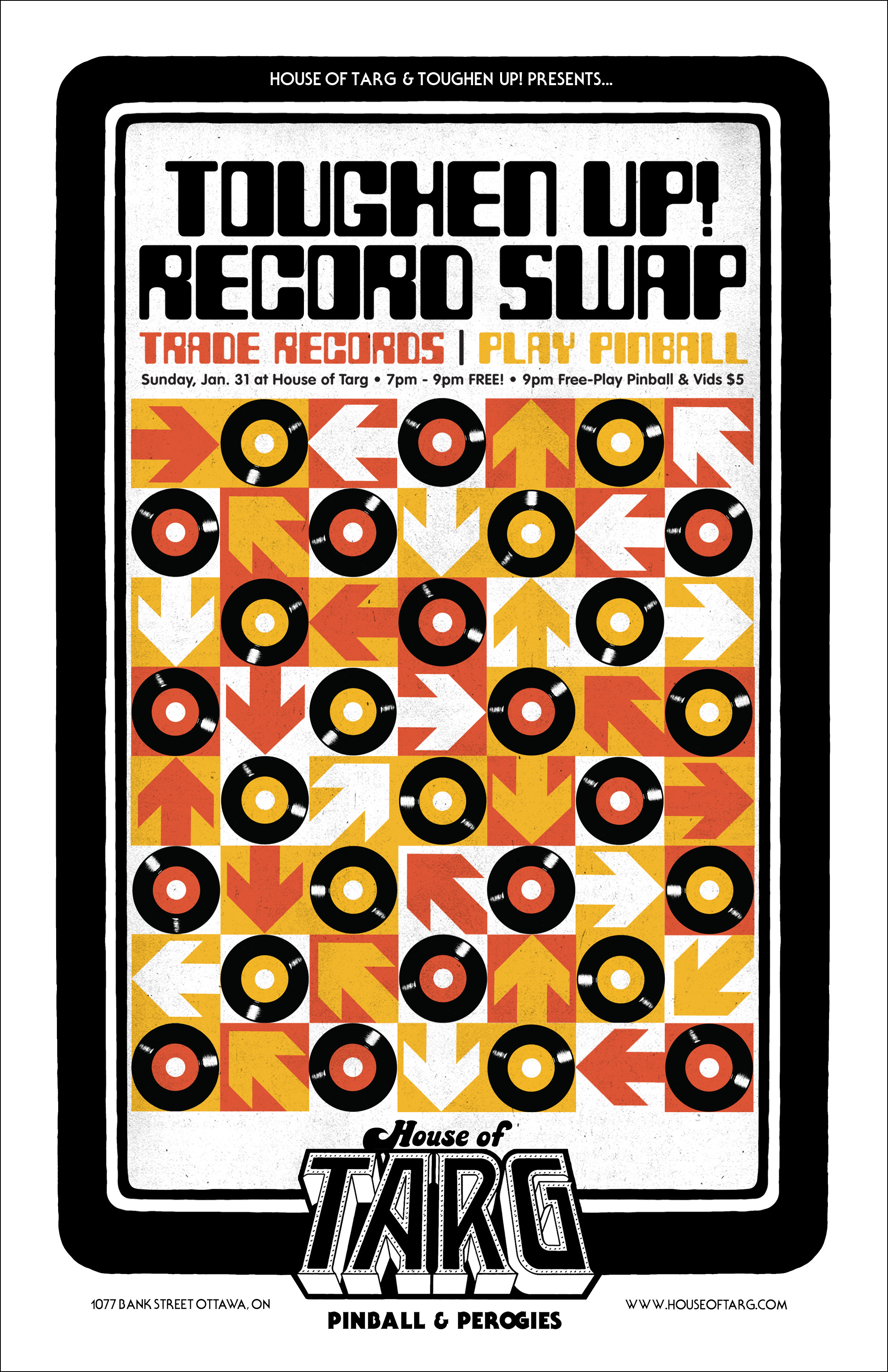 """TOUGHEN UP! RECORD SWAP   Sun Jan 31 7pm - 9pm FREE   Trade, sell or buy platters from any genre, time period and size [12"""", 10"""", 7""""]. Everyone Welcome!  GET THE STRAIGHT SKINNY HERE"""
