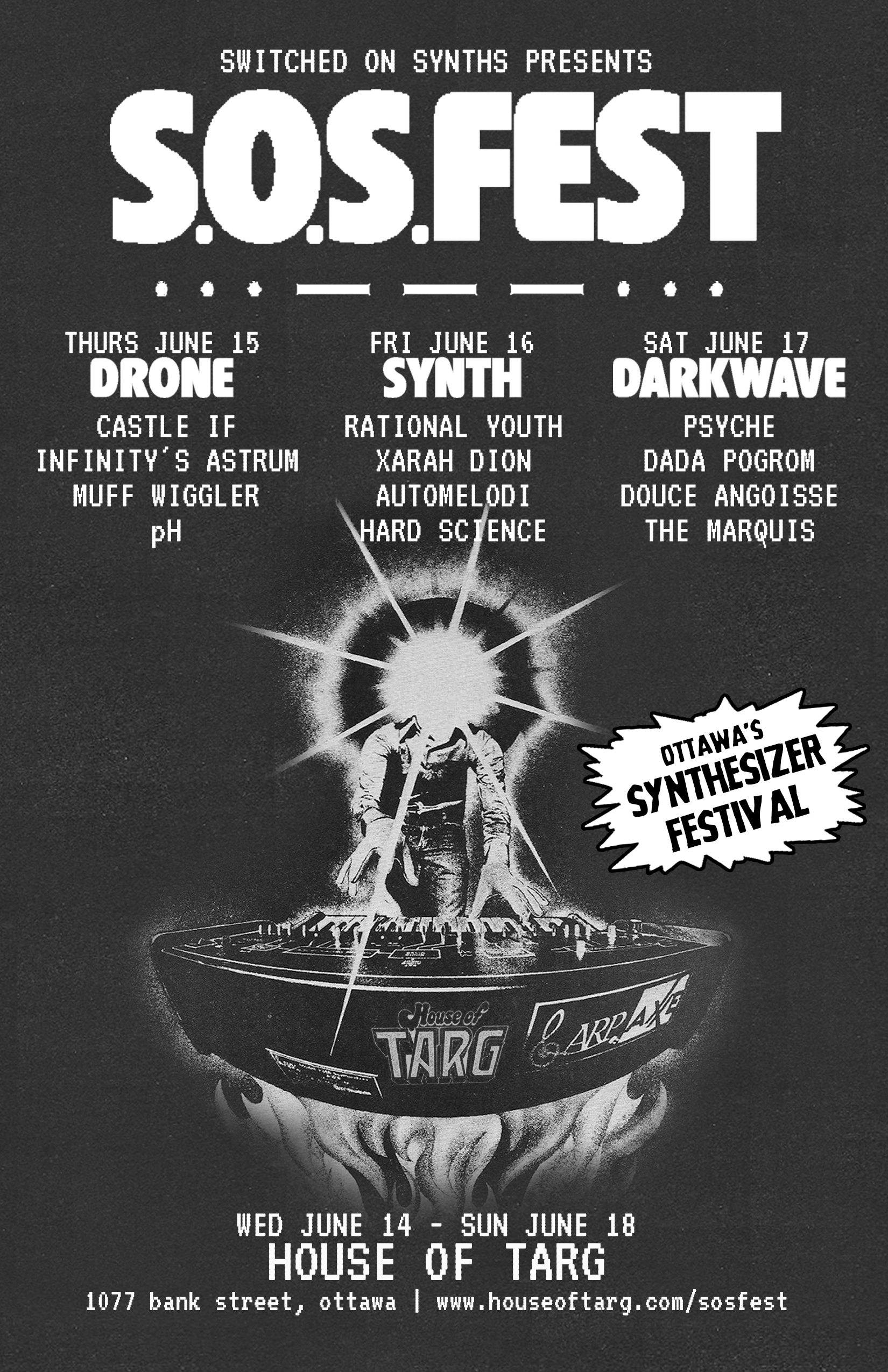 THE OFFICIAL S.O.S.fest ZINE: Everything you need to know about the Switch On Synths festival happening June 14-18 at TARG   download the PDF here.