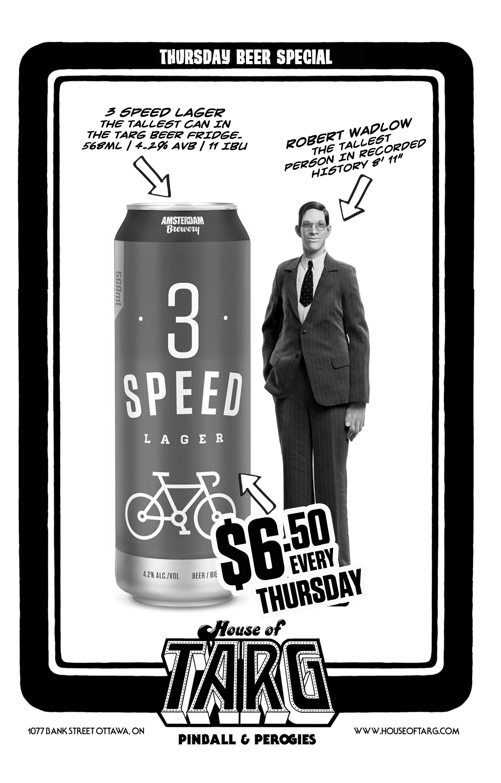 EVERY THURSDAY  JUST $6.50 FOR THE TALLEST CAN IN OUR FRIDGE…. AMSTERDAM 3 SPEED LAGER - 569ml
