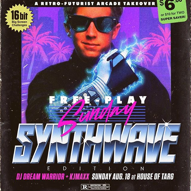 TONIGHT!! Doors@8pm for a special SYNTHWAVE edition  FREEPLAY SUNDAYS with your host DJ @kjmaxxx and guest Dream Warrior - every machine in the arcade set to FREEPLAY mode, old school SNES action in the lounge, drink specials at the bar and handmade perogies served late!! Join us 🙂👾🙂 #ottawa #fun #winwin