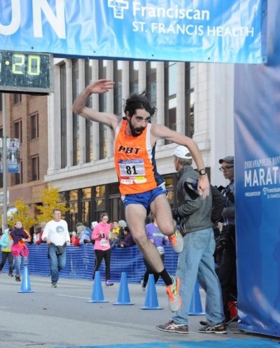 Noah Droddy finishing last year's Monumental Half high on optimism. He carried this optimism out west to train in CO with Roots Running Project and made the Olympic Trials in the marathon and 10K.