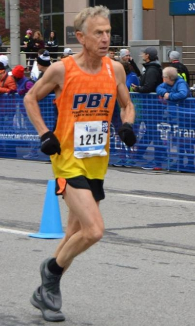 Max Williams, 68, on his way to the Monumental Marathon AG record.  Recovery and enthusisam are great anti-aging tools.