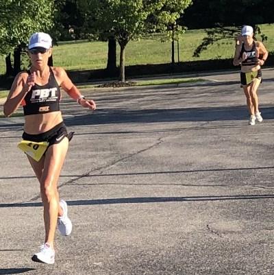 Lisa & Rebecca finishing 1-2 in the women's age graded race.