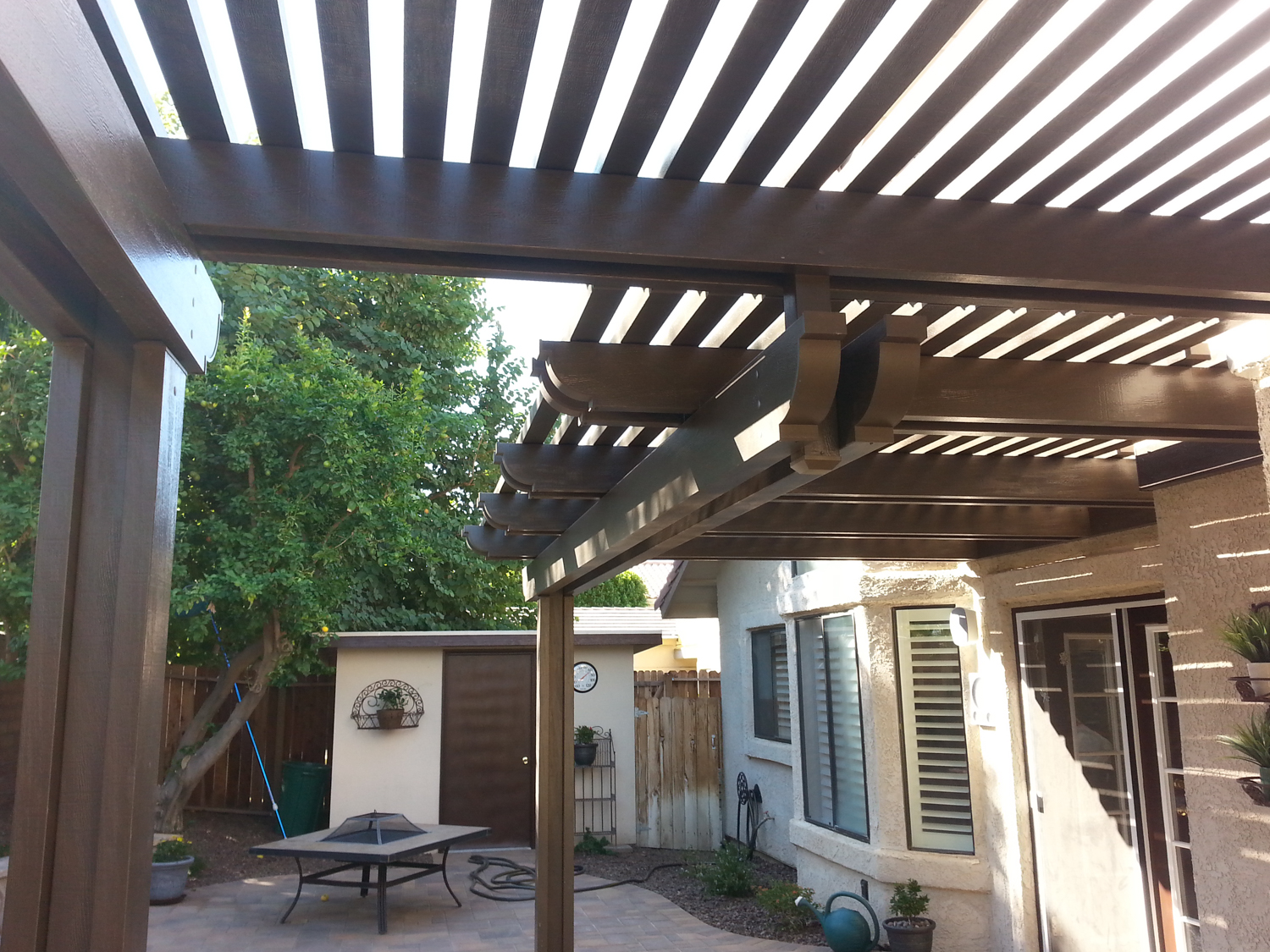 Lattice Patio Cover with Round Fiberglass and Columns, 92234