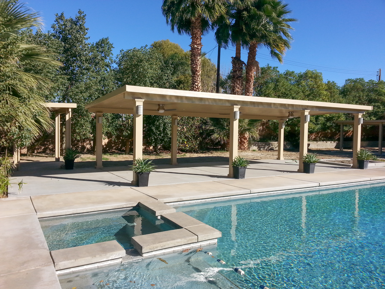 Free Standing Solid Roof Patio Shade Cover, La Quinta, CA