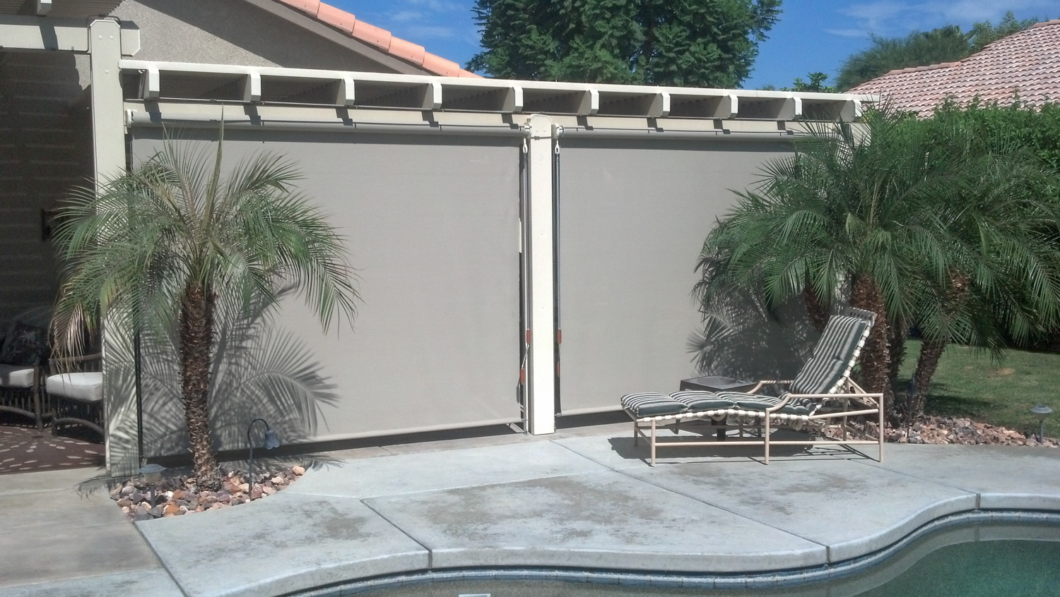 Multiple Drop Screens to Shade Covered Patio, 92262