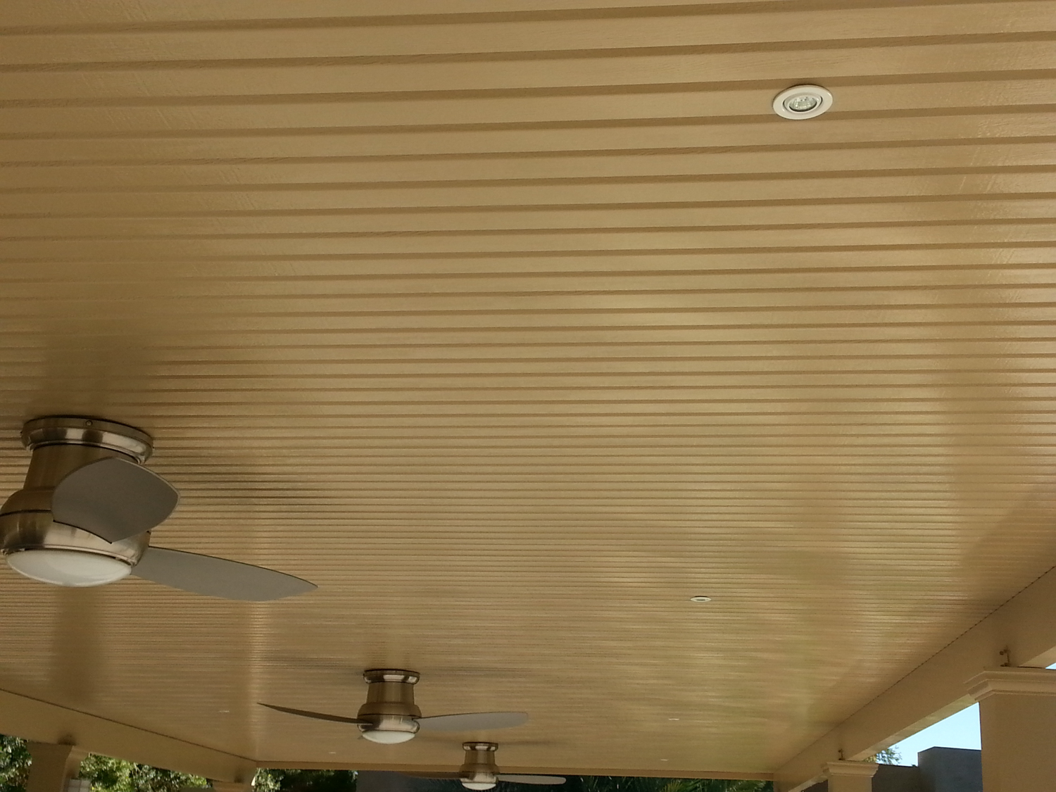 Outdoor Fans and Patio Cover Lighting on Solid Patio Roof Overhang, 92211
