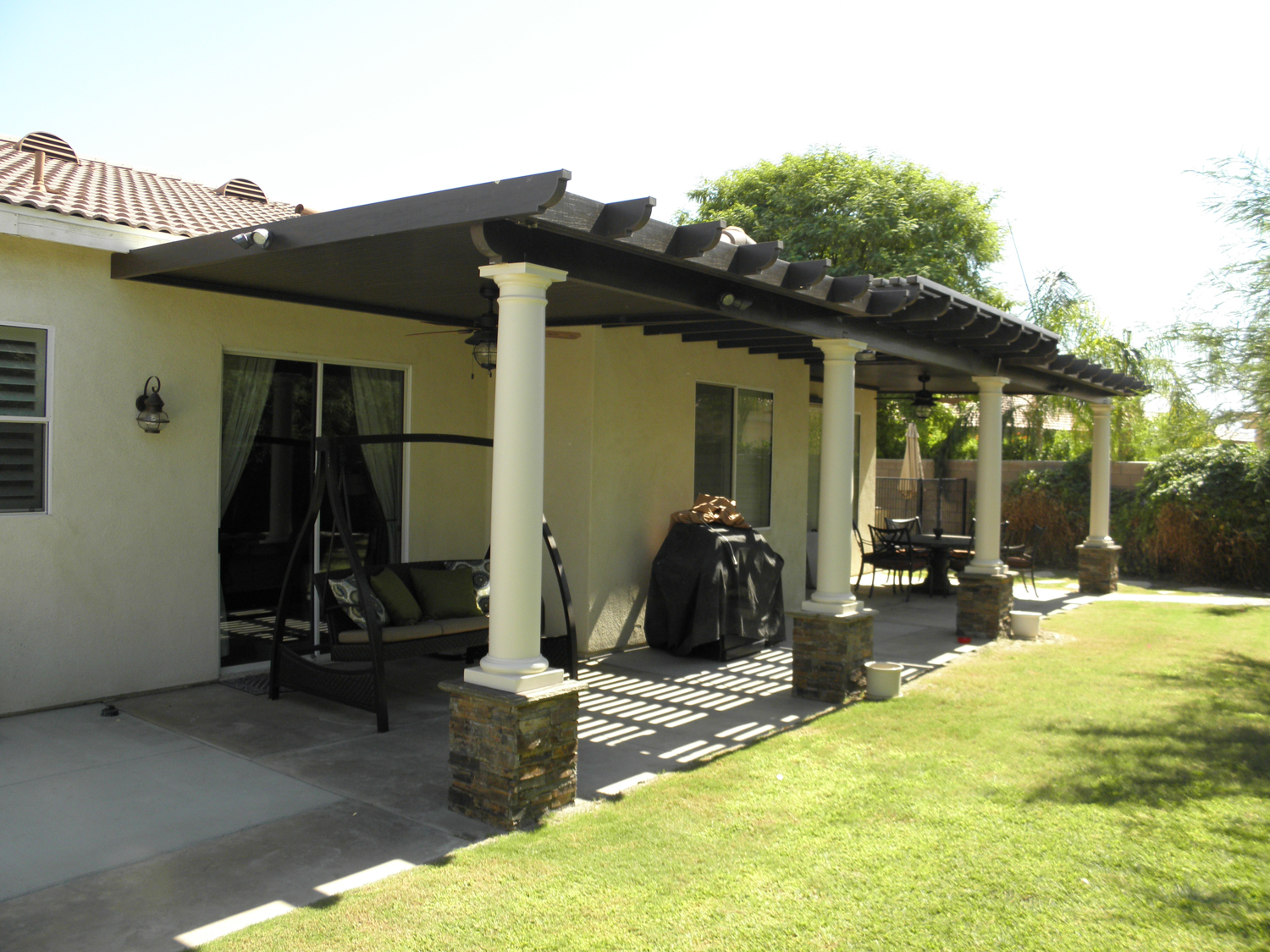 Custom Stone Columns, one of many Great Patio Cover Ideas!