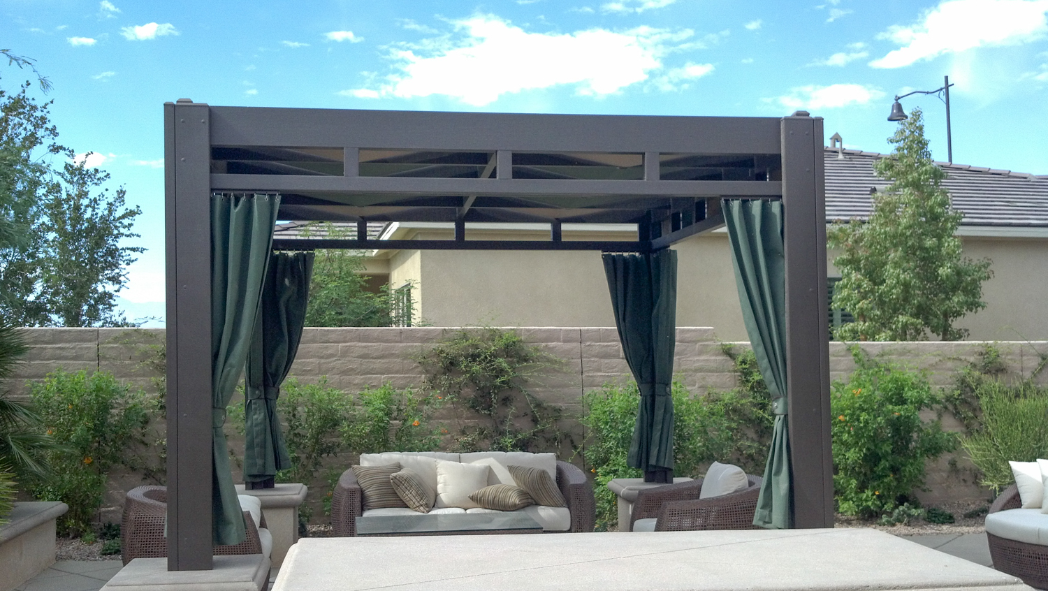 Freestanding Gazebo with Fabric Patio Cover, Palm Desert, CA