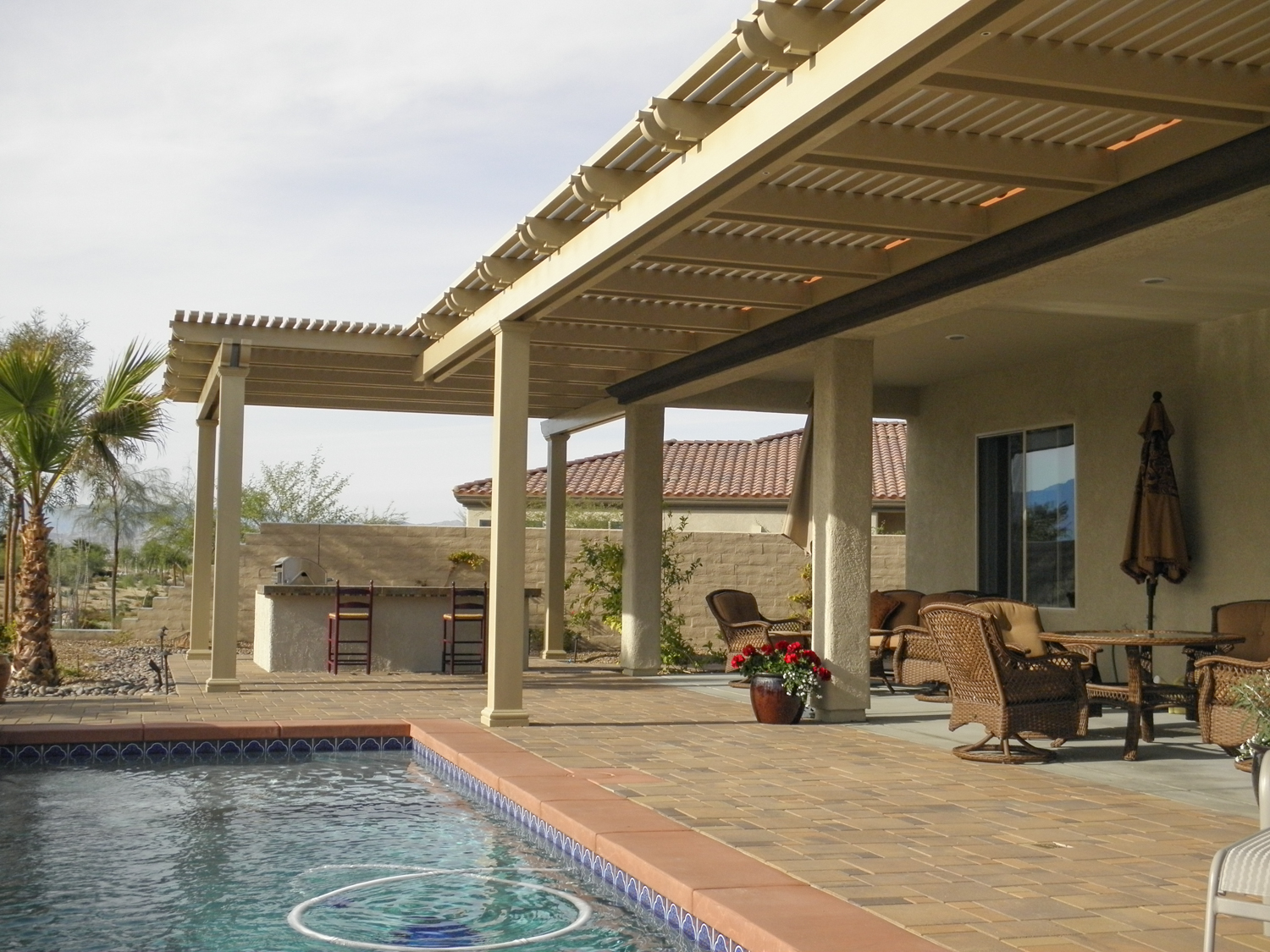 Lattice Patio Cover with Retractable Shade Screen, Palm Desert, CA, 92260