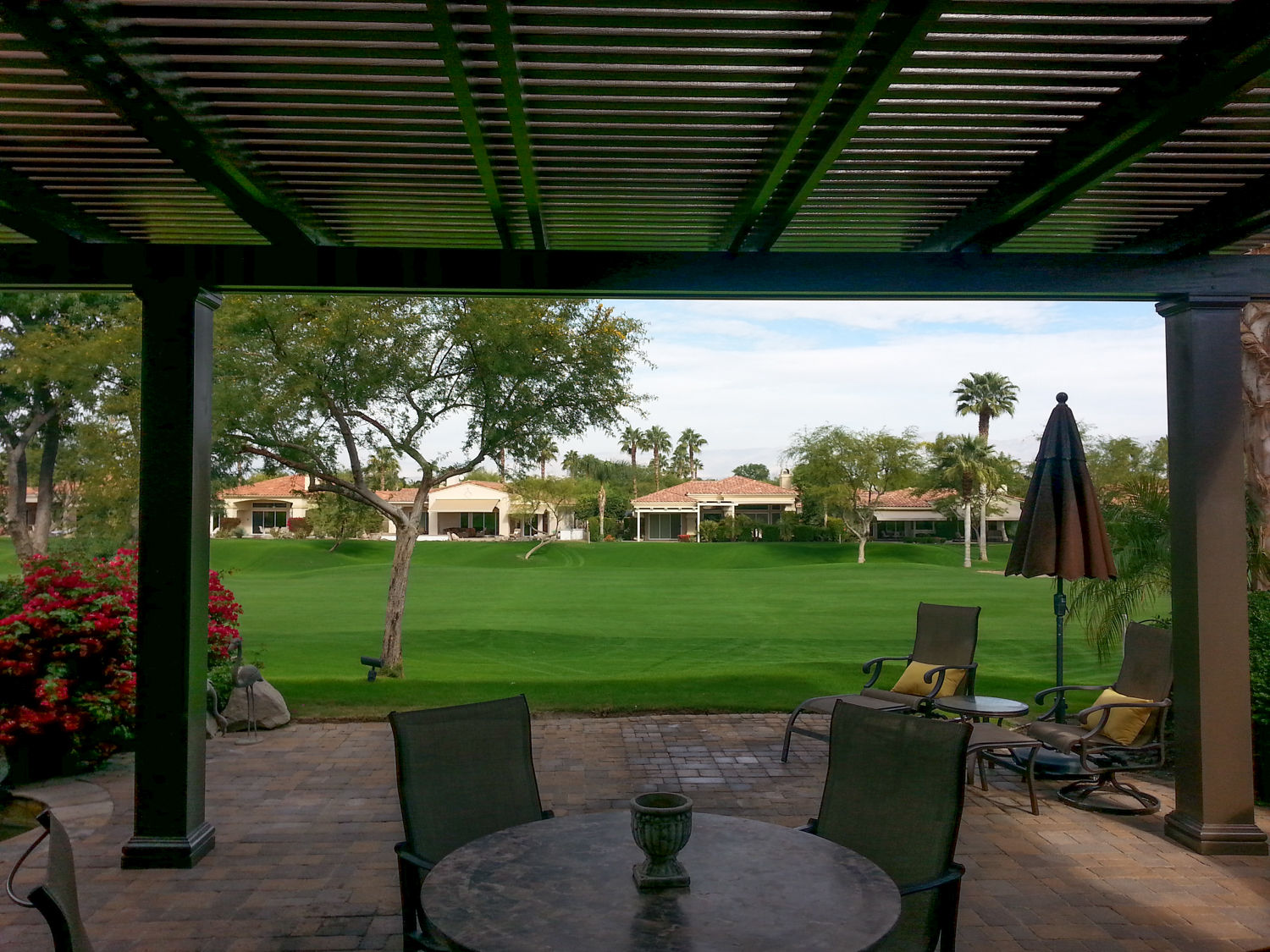 Aluminum Dash Weatherwood Patio Cover, Fully Closed, Palm Desert, CA