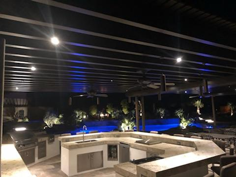 Recessed ceiling LED lights on Slate Gray patio roof