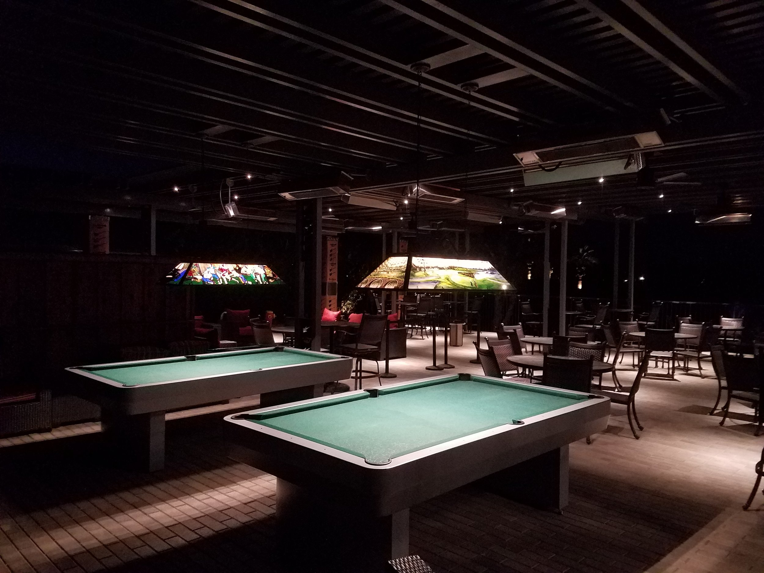 Lattice covered outdoor pool table