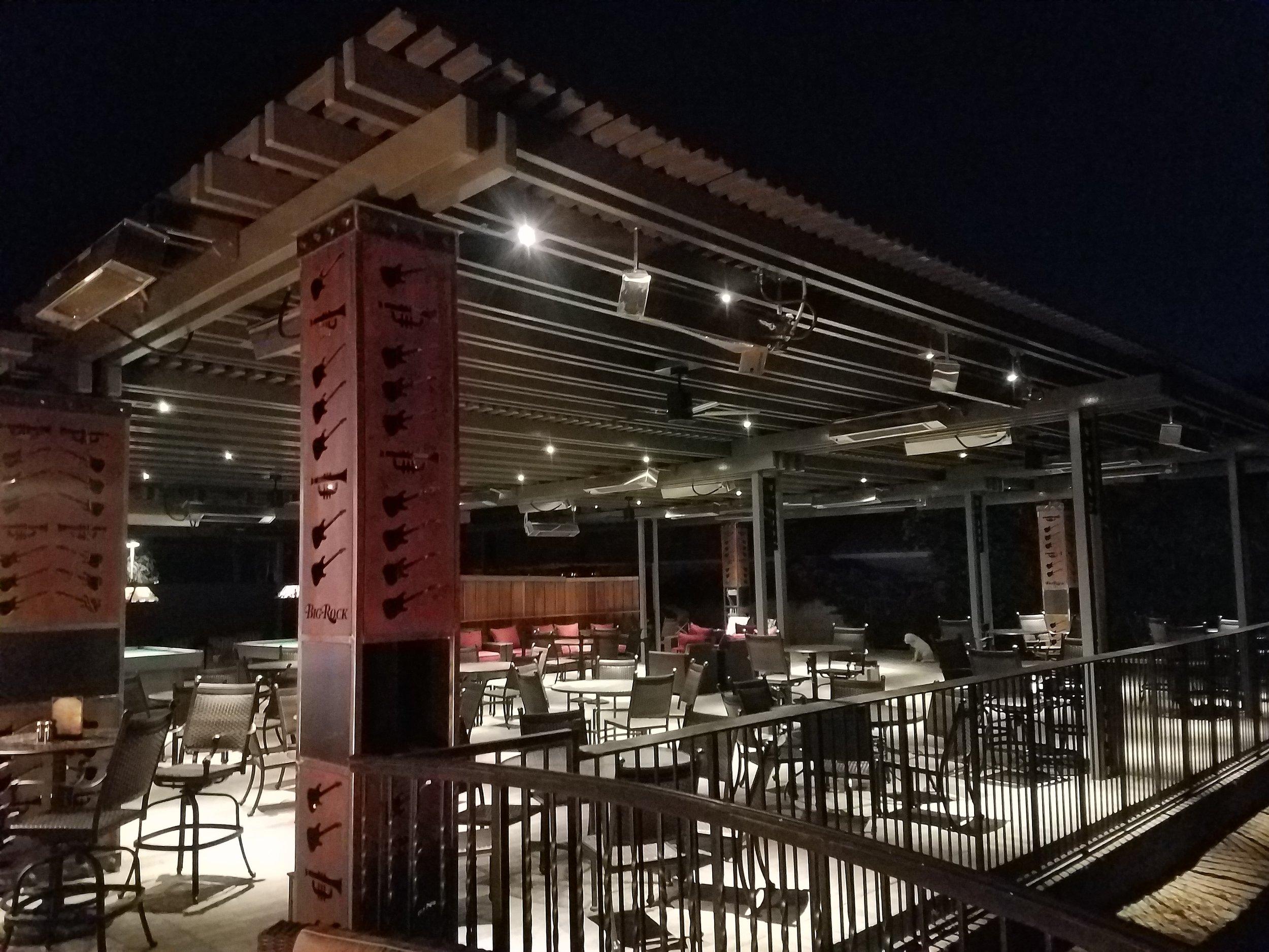Big Rock Pub in Indio lattice patio structure
