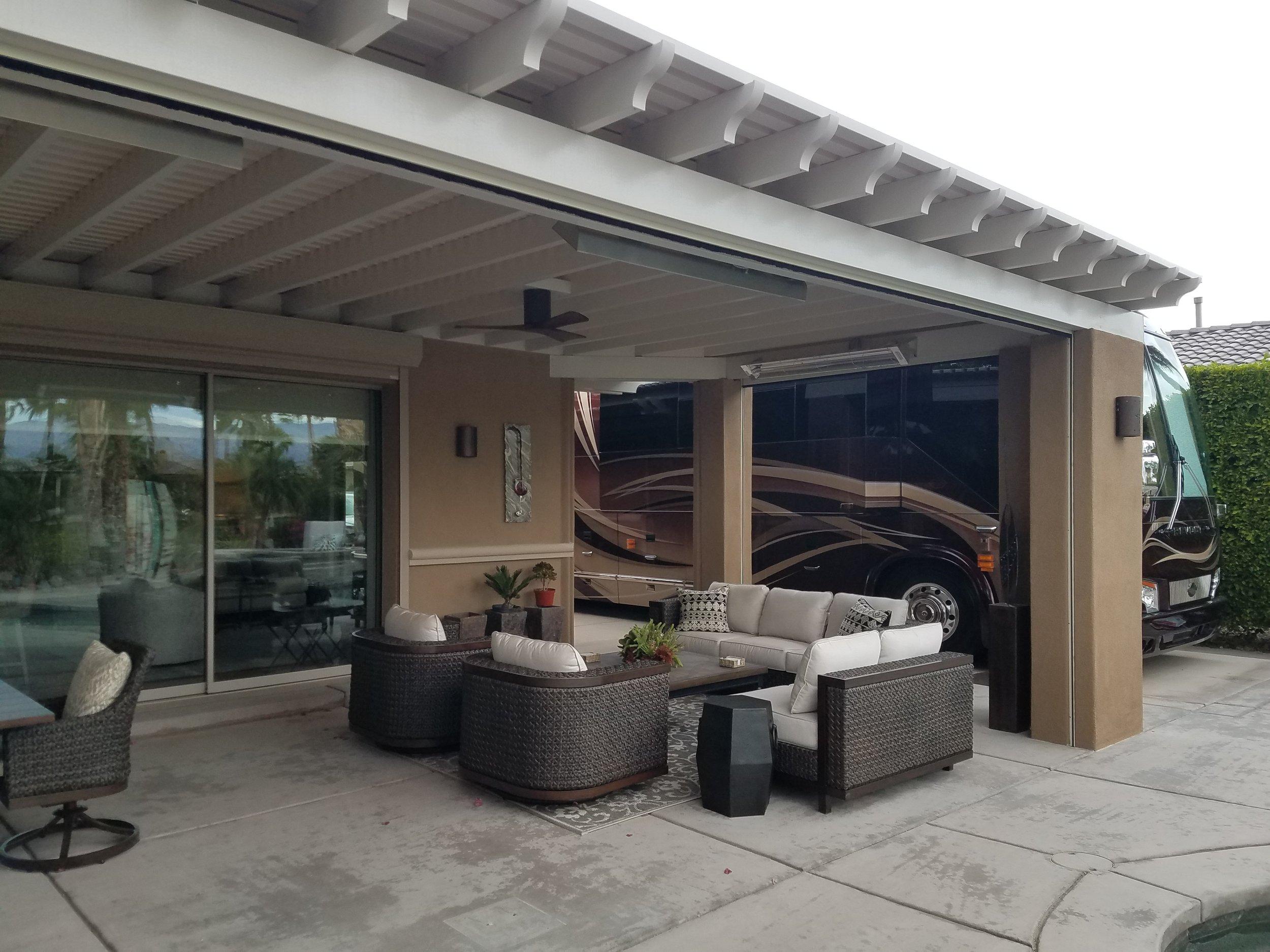 Yucaipa Lattice patio cover with a Sunbrella fabric cover
