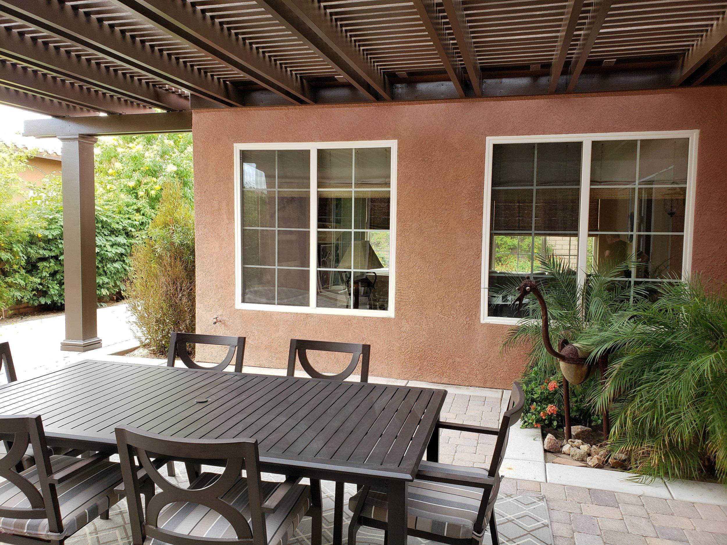 Lattice patio cover with custom square column in Yucaipa, CA