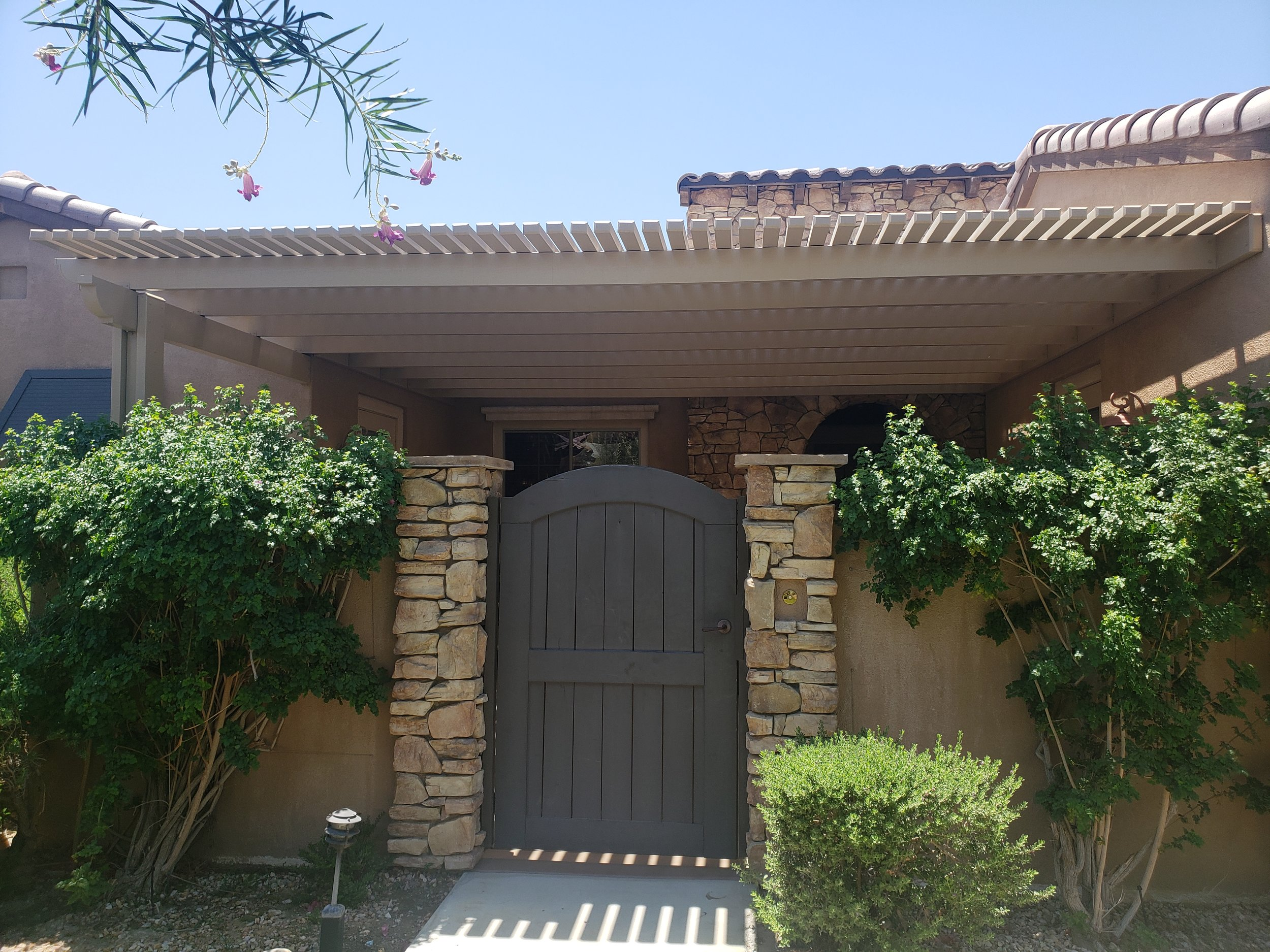 Yucaipa front courtyard shade structure