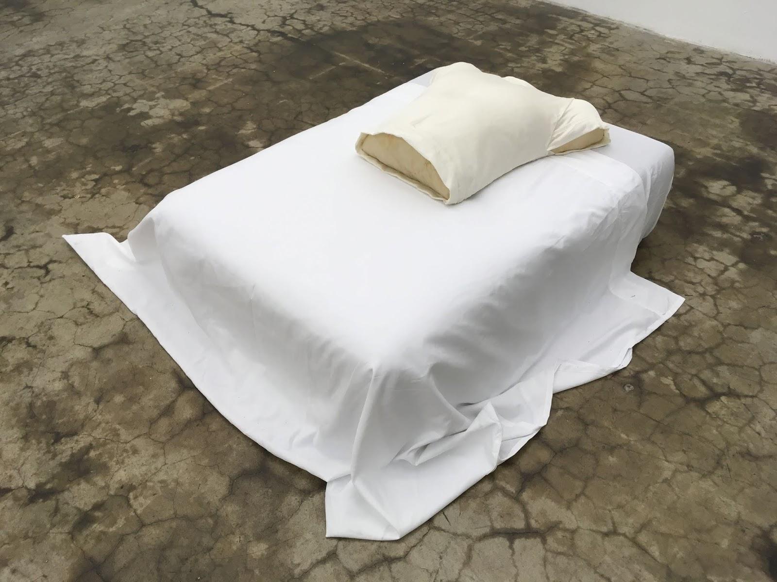 Pillow Talk  Pillowcase, expanding foam and bedsheets on foam 18 x 30 x 41 in. 2018