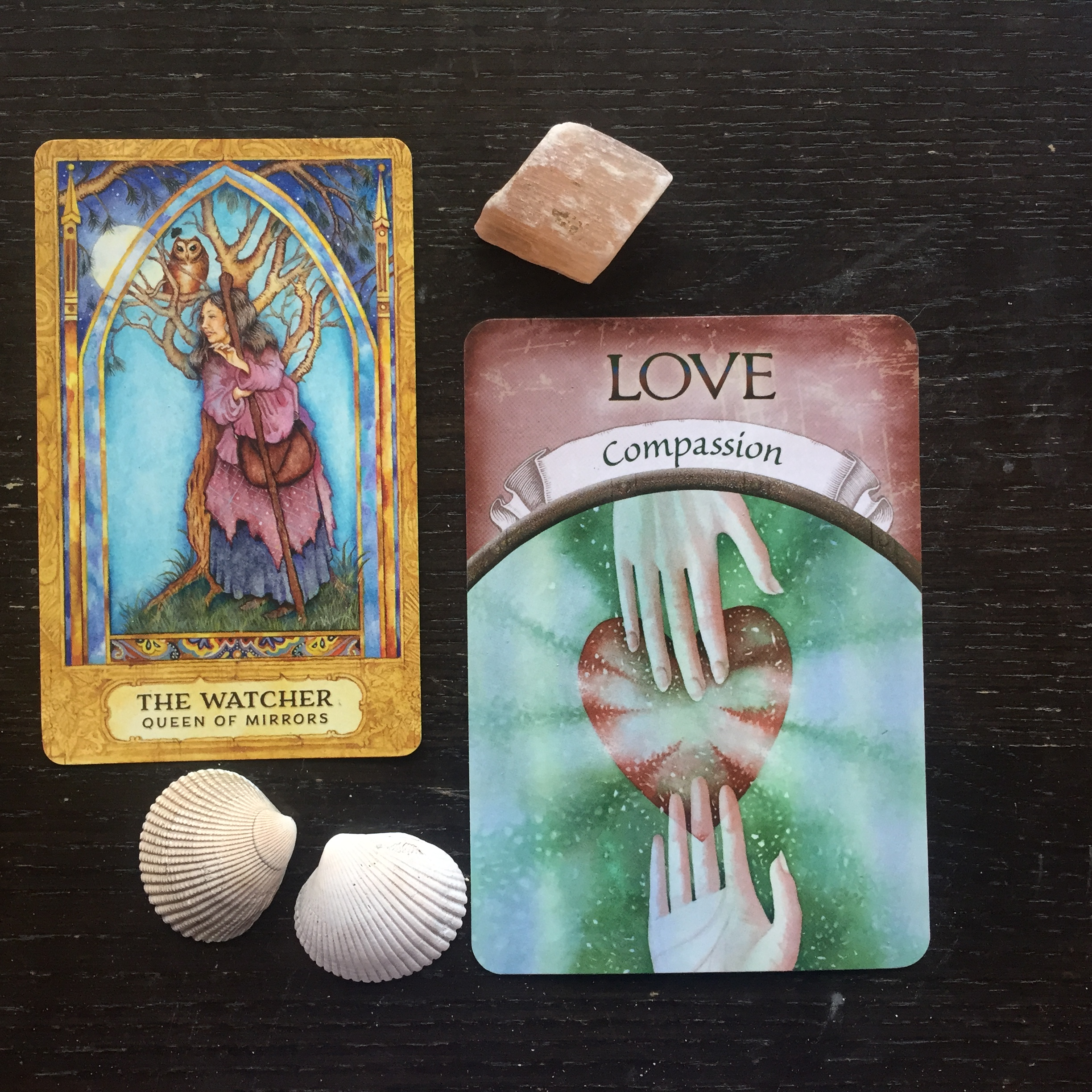 The Watcher from The Chrysalis Tarot and Love from Earth Magic Oracle