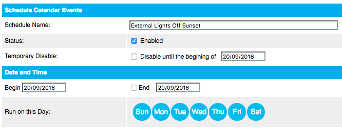 Scheduler accessible via web page