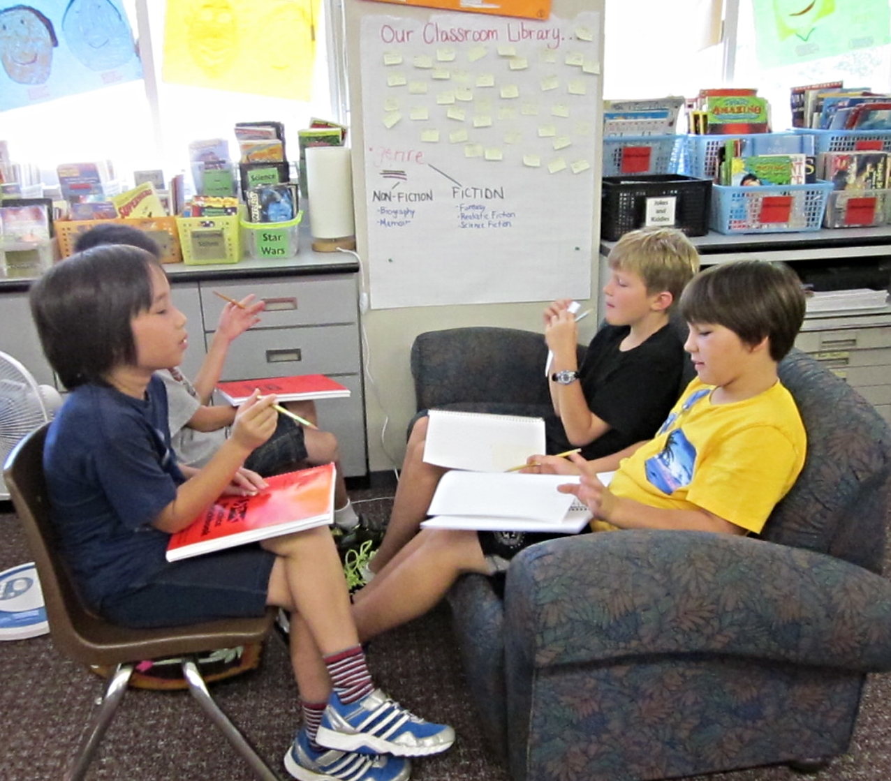 """We had to teach into listening skills and used a timer to honor each person's voice. The students conducting the interview were introduced to key words to help them did deeper for information: """"Why?"""" """"Tell me more..."""""""