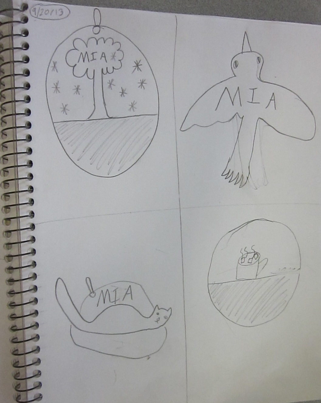 Students were encouraged to do multiple quick sketches in order to capture ideas. Dividing the page into fours and using a timer to encourage production were helpful keys to generating thinking.