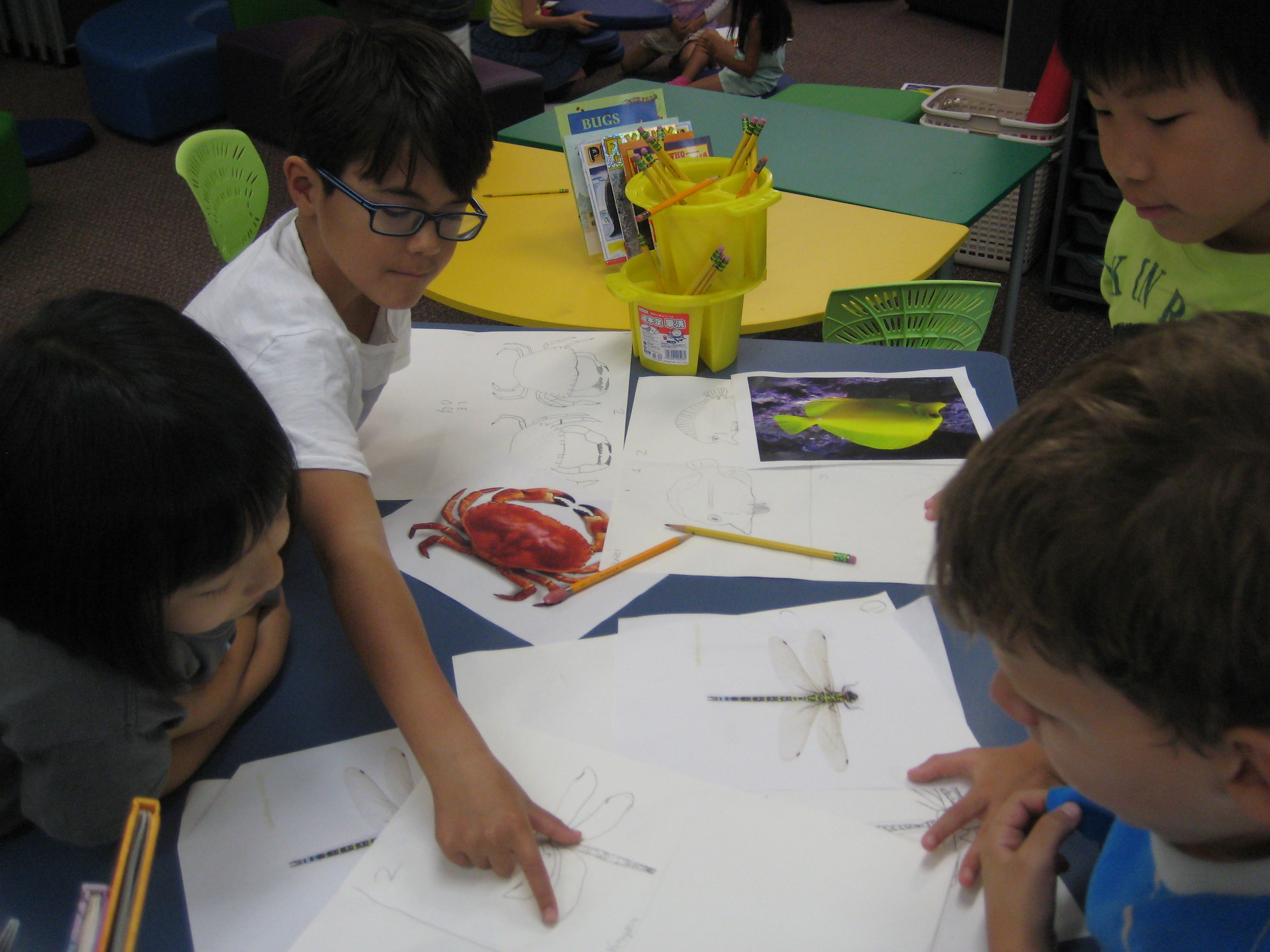 Children worked in groups to give initial feedback