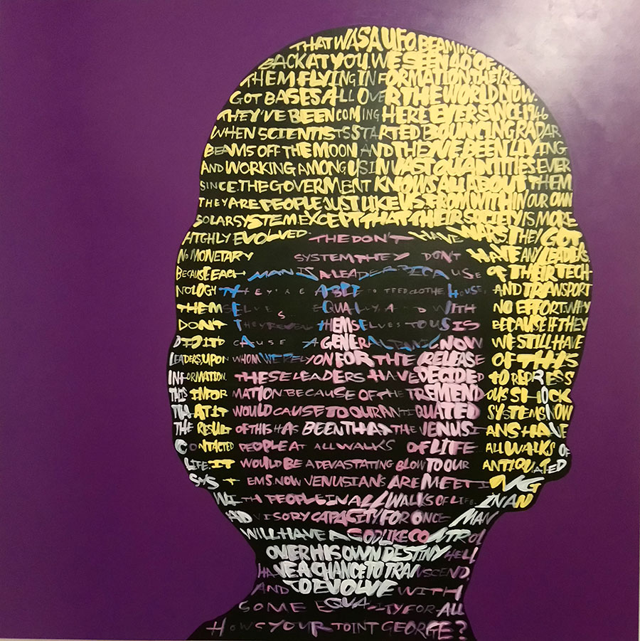 "- Jack Nicholson: text; 'Easy Rider'Acrylic on Board 40"" x 40""Year:2018$6,500"