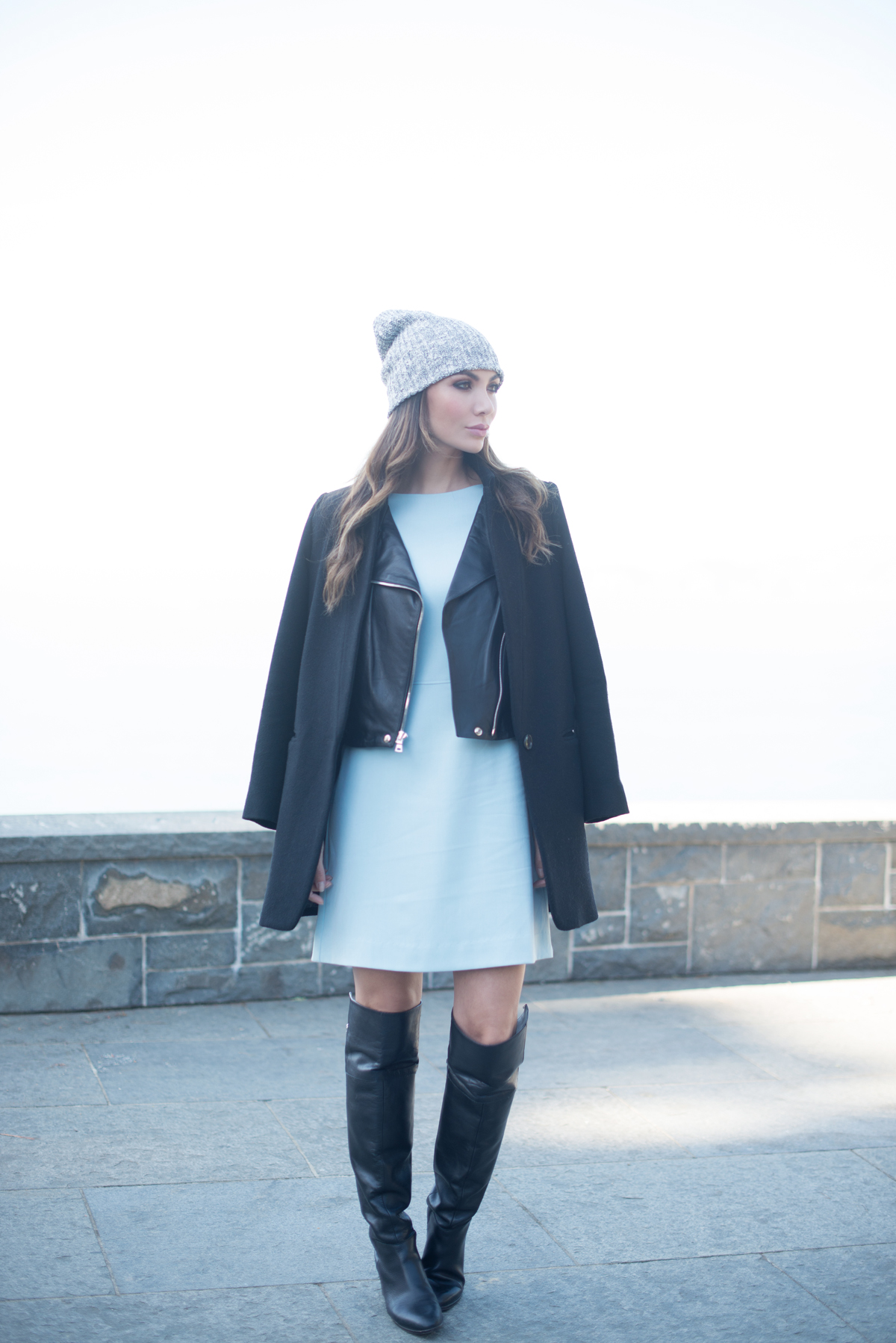 WEARING:    American Apparel Fisherman Beanie ,  Kim and Proper Dress ,  Reformation Arctic Leather Jacket ,  Pink Tartan Car Coat  , Zara Boots (  similar here  ), Love Juliet   Constance Cuff   and   Ara Cuff