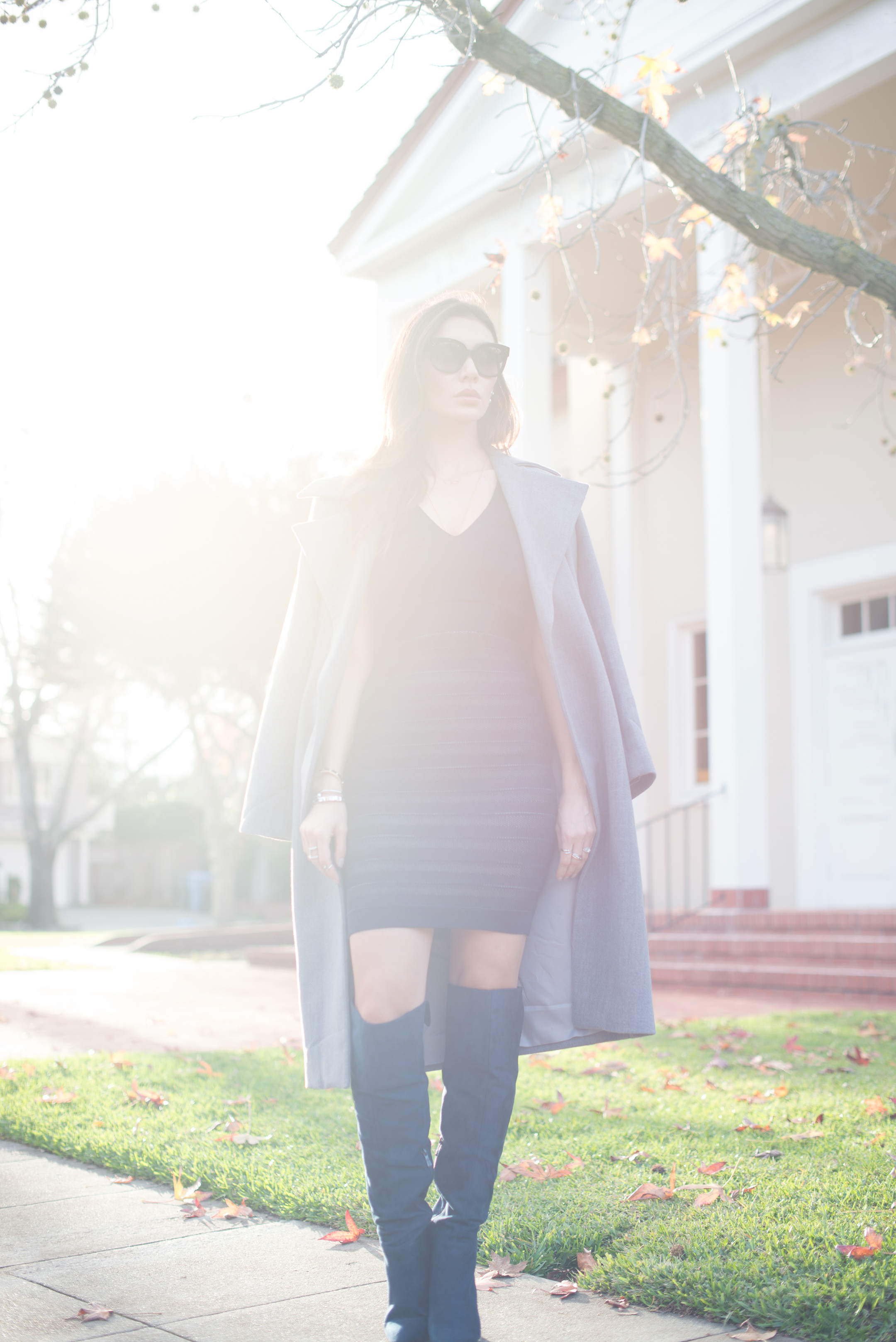 WEARING:   French Connection Dress via simply dresses ,  Missguided Boots ,  Missguided Waterfall Coat ,  Céline Audrey Sunglasses ,  Dainty and Bold Necklace ,  Cross Crystal Rings ,  Nail Rings ,  Love Juliet Pearl Hardware Earrings ,  Manhattan Bangles  and  Nail Cuff
